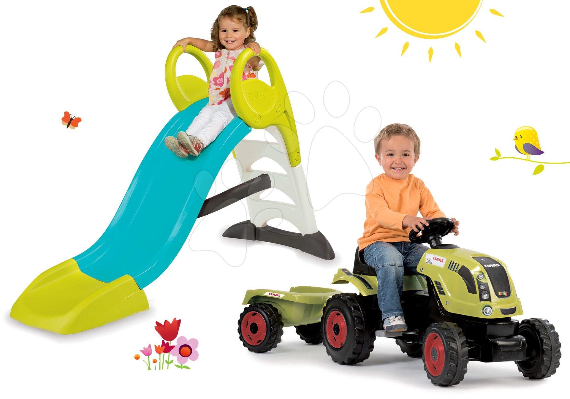Smoby set šmykľavka Toboggan KS s dĺžkou 150 cm a traktor na šliapanie s prívesom 310269-23
