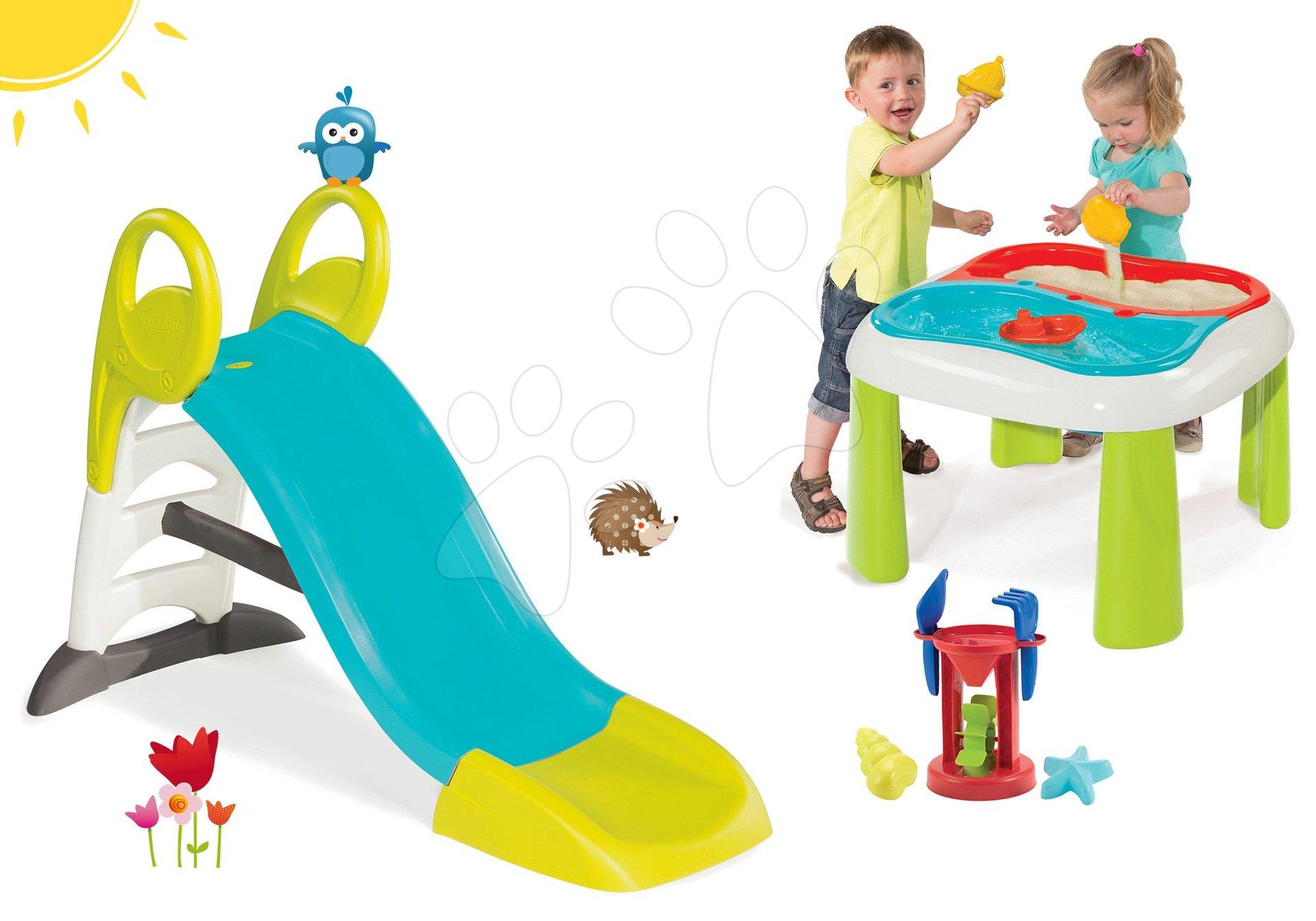Smoby set šmykľavka pre deti Toboggan KS s vodou a stôl na hranie Voda&Piesok s mlynom 310269-3