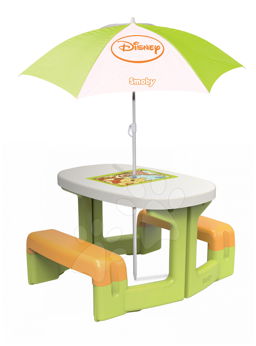 Piknikový stůl Medvídek Pú Smoby se slunečníkem zelený od 24 měsíců