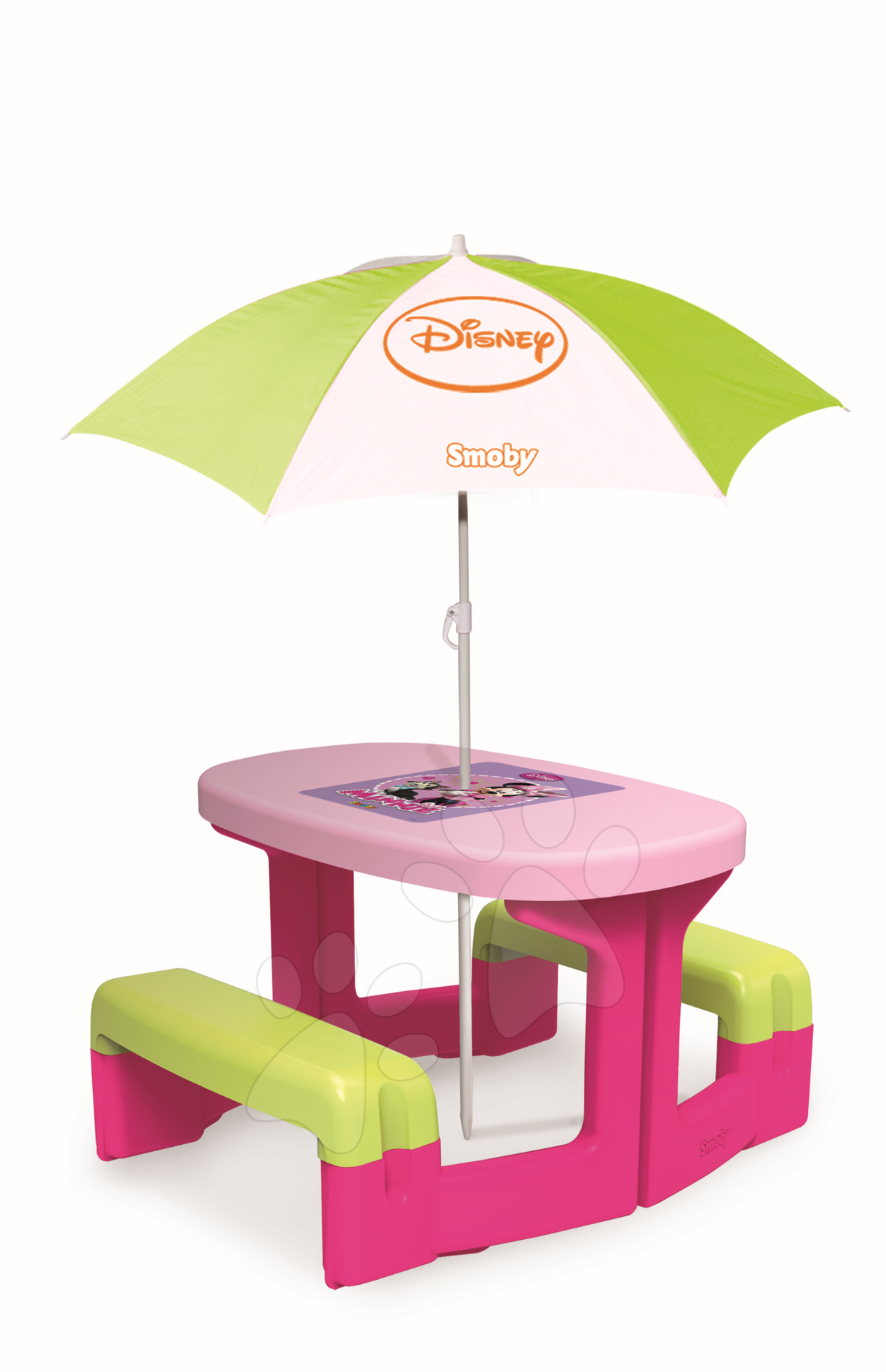 Piknikový stůl se slunečníkem Minnie Smoby růžový od 24 měsíců