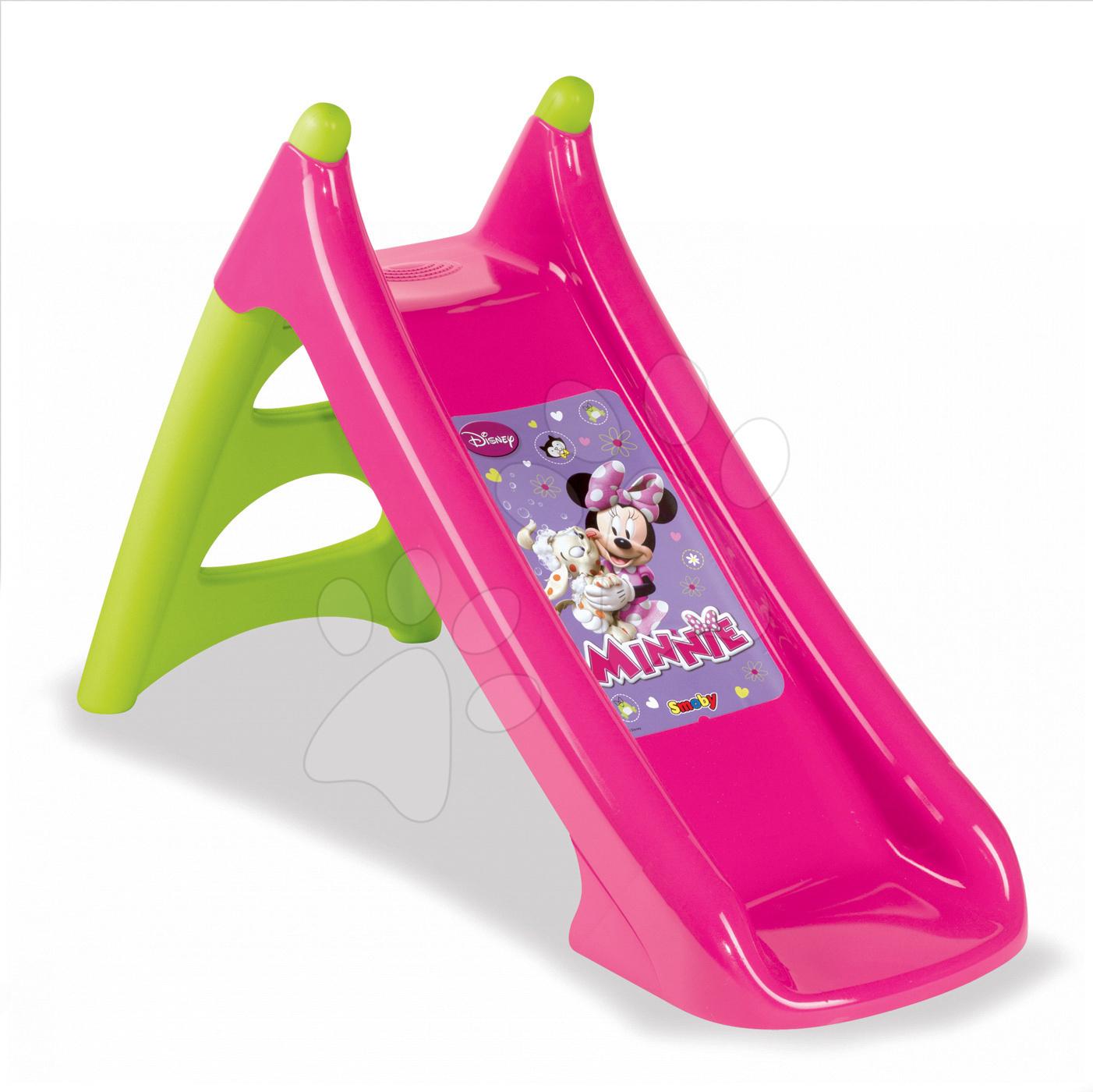Šmykľavky pre deti  - Šmykľavka Minnie Mouse Smoby Toboggan XS s vodou dĺžka 90 cm od 24 mes