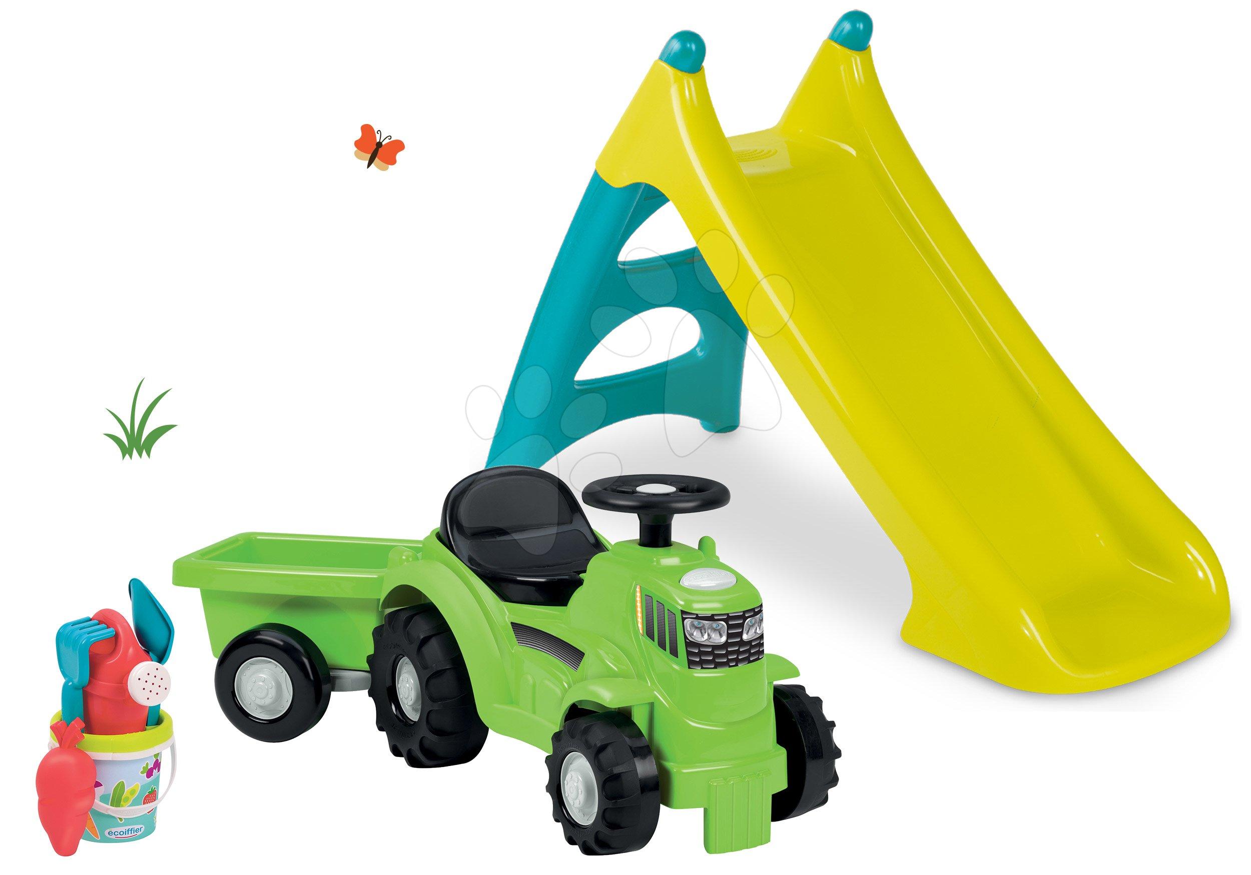 Set šmykľavka Toboggan XS modrá Smoby a odrážadlo traktor s prívesom a vedro set