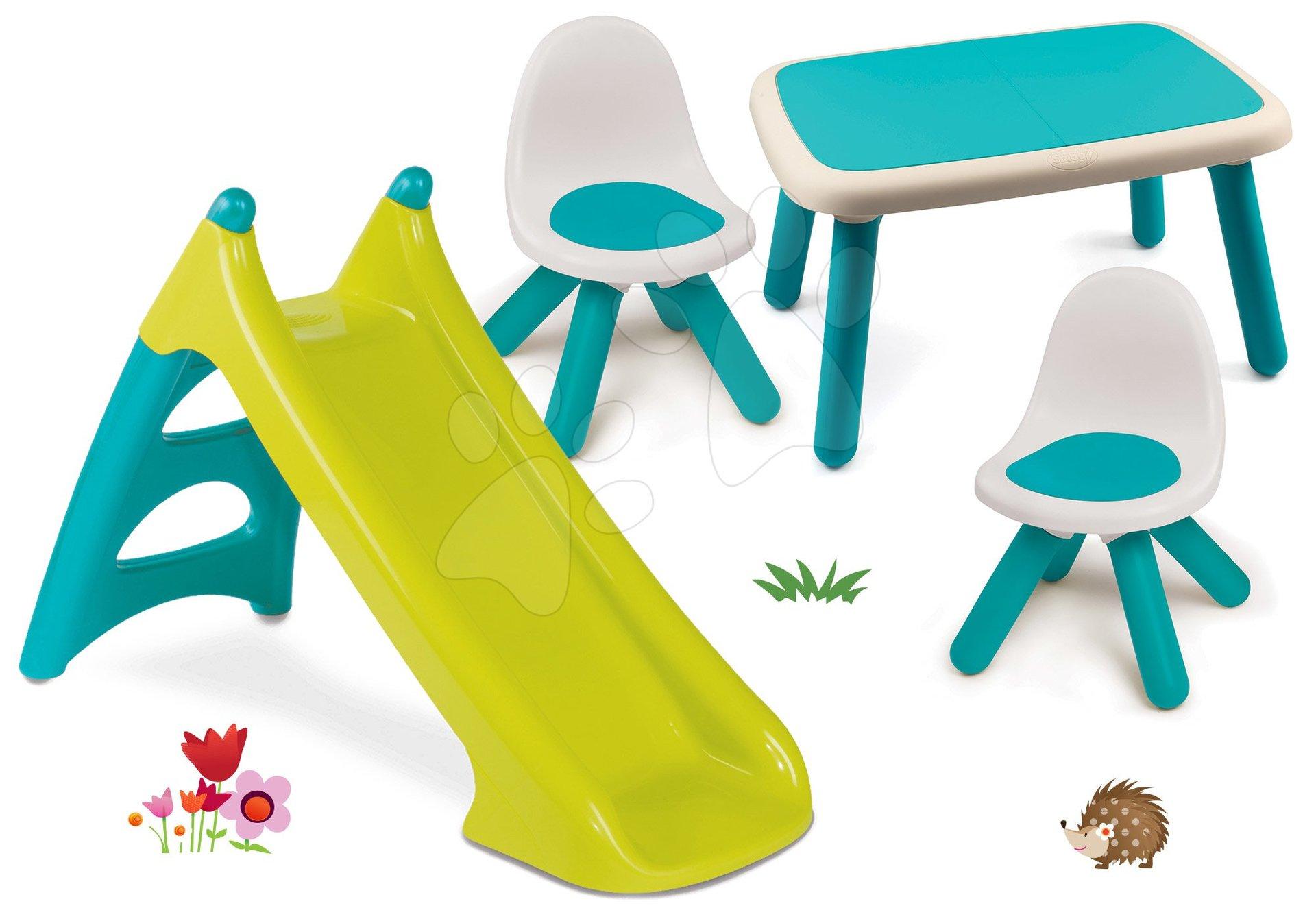 Set šmykľavka Toboggan XS modrá Smoby a stôl a dve stoličky KidChair