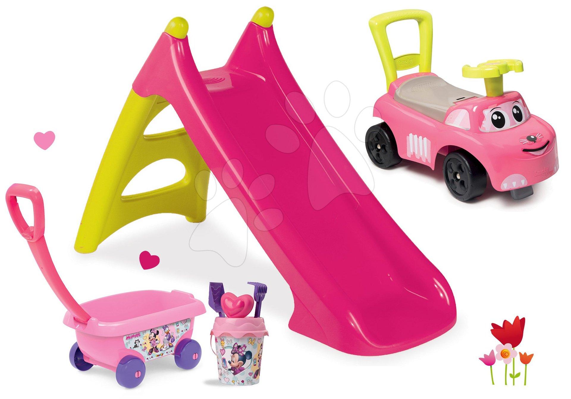 Set šmykľavka Toboggan XS ružová Smoby a odrážadlo s vozíkom a vedro setom Minnie