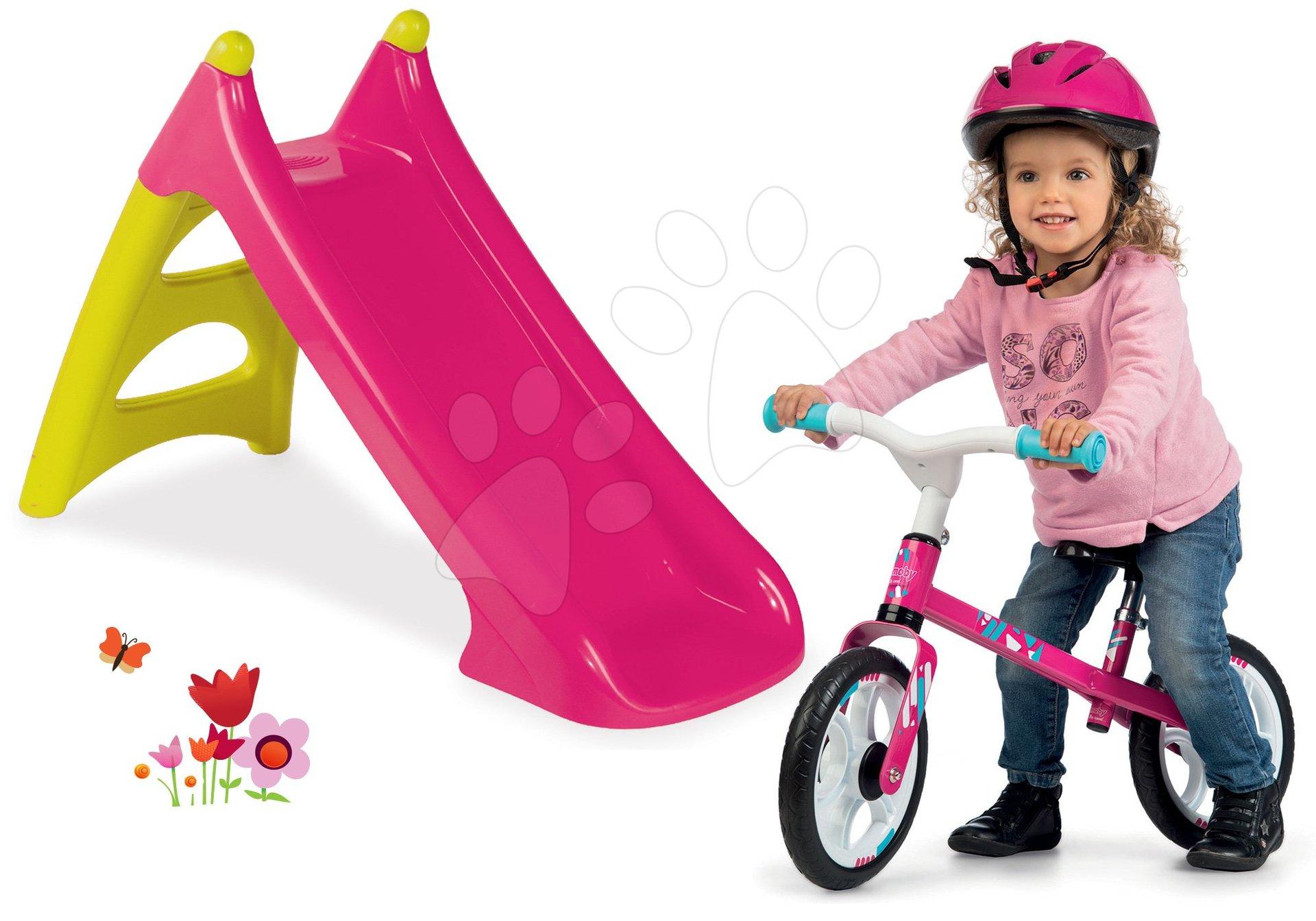Set skluzavka Toboggan XS růžová Smoby a balanční odrážedlo First Bike