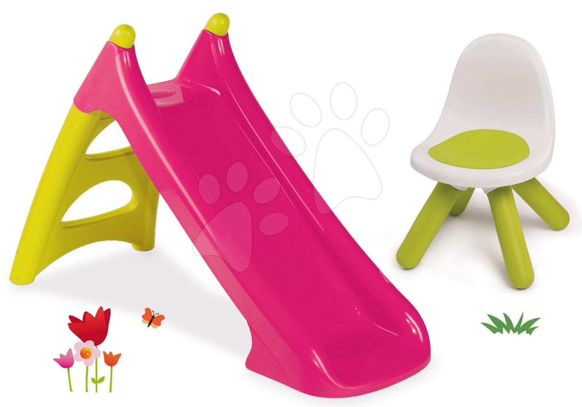 Set šmykľavka Toboggan XS ružová Smoby a stolička pre deti KidChair