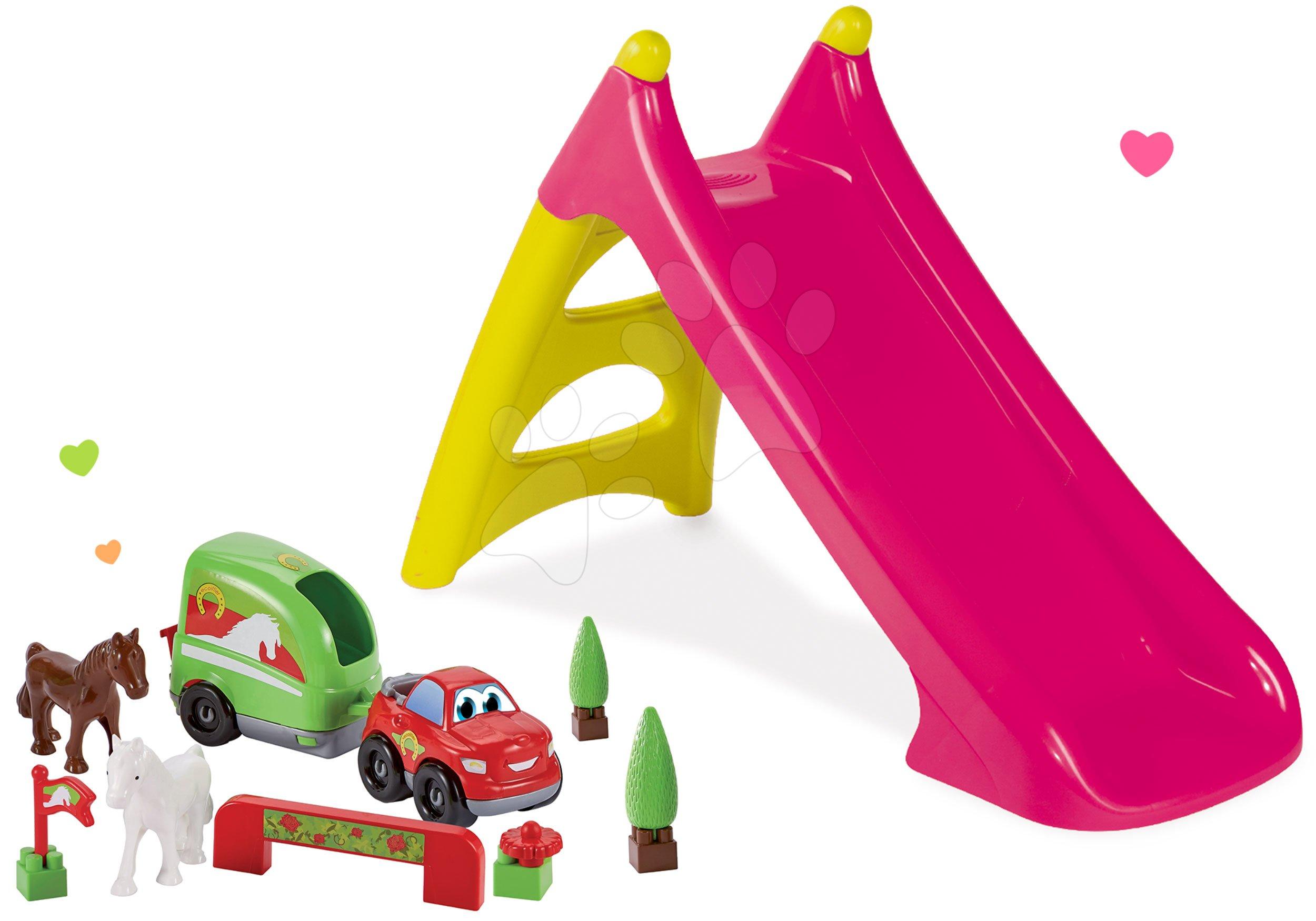 Set skluzavka Toboggan XS růžová Smoby a terénní auto s vozíkem pro koně s doplňky