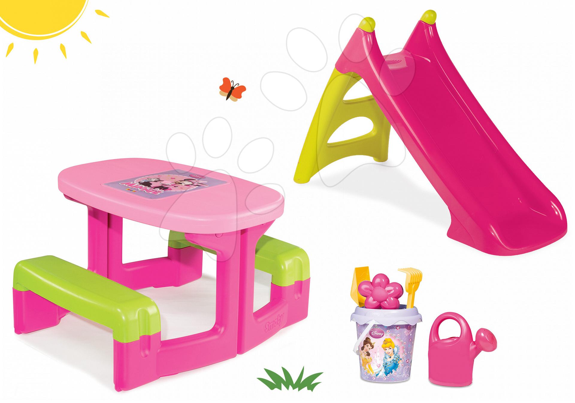 Detský záhradný nábytok sety - Set stôl Minnie Piknik Smoby a šmykľavka Minnie Toboggan XS s vedro setom Daisy od 24 mes