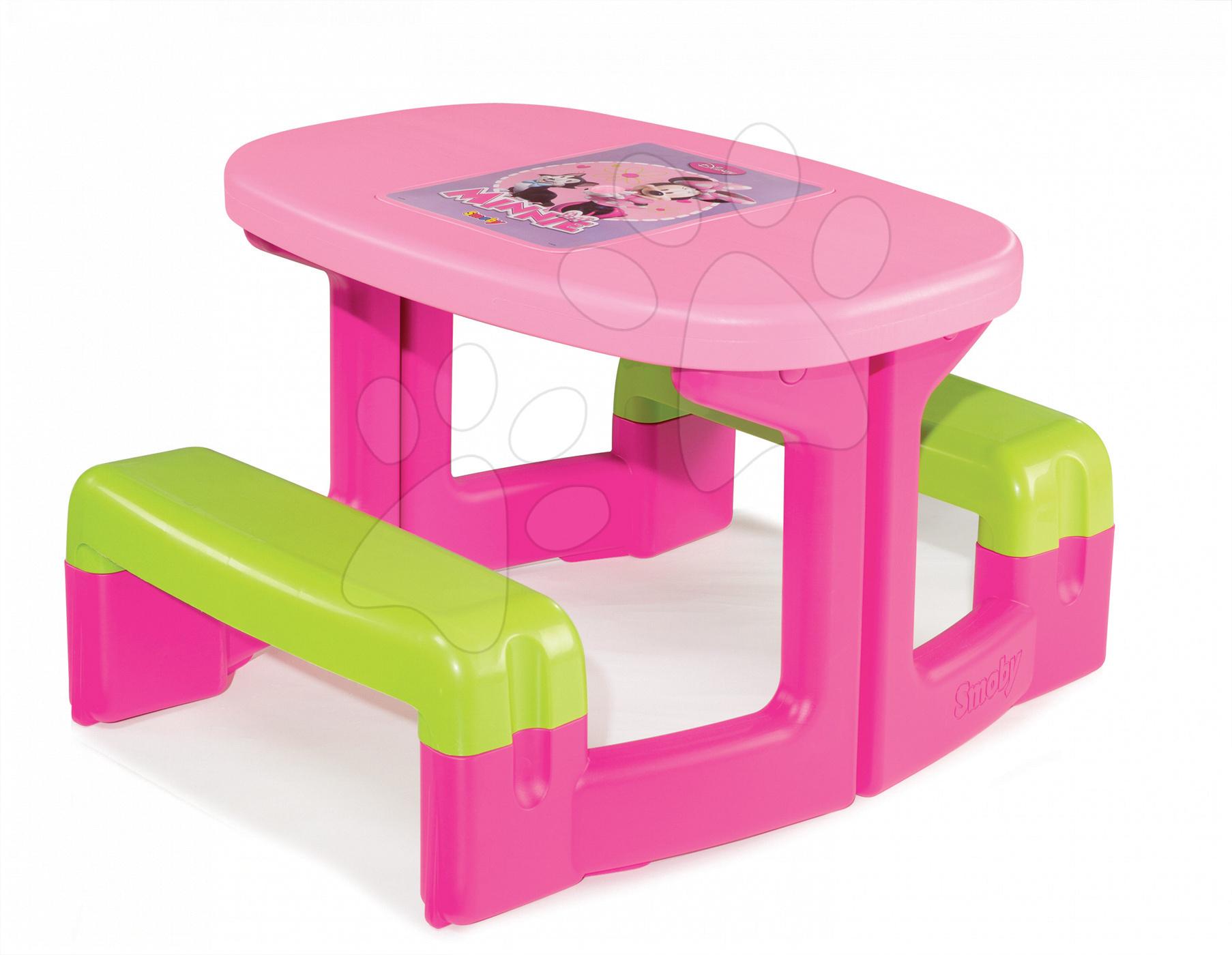 Detský záhradný nábytok - Stôl Minnie Piknik Smoby s úložným priestorom od 24 mes