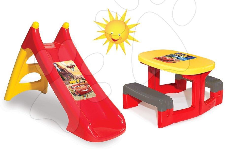 Detský záhradný nábytok sety - Set stôl Autá Piknik Smoby s dvoma lavicami a šmykľavka Autá Toboggan XS dĺžka 90 cm od 24 mes