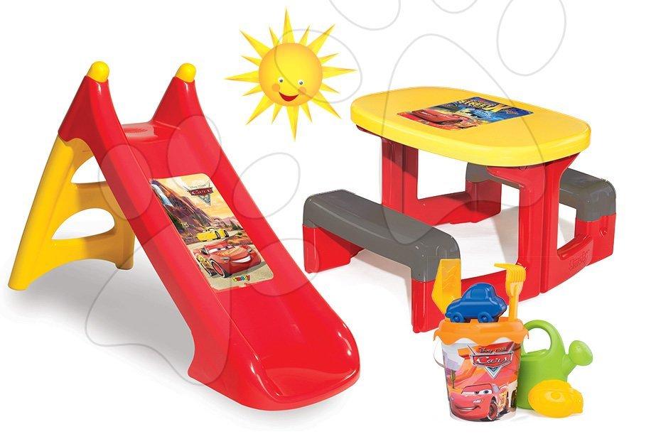Set stůl Auta Piknik Smoby a skluzavka Auta Toboggan XS s kbelík setem Auta od 24 měsíců