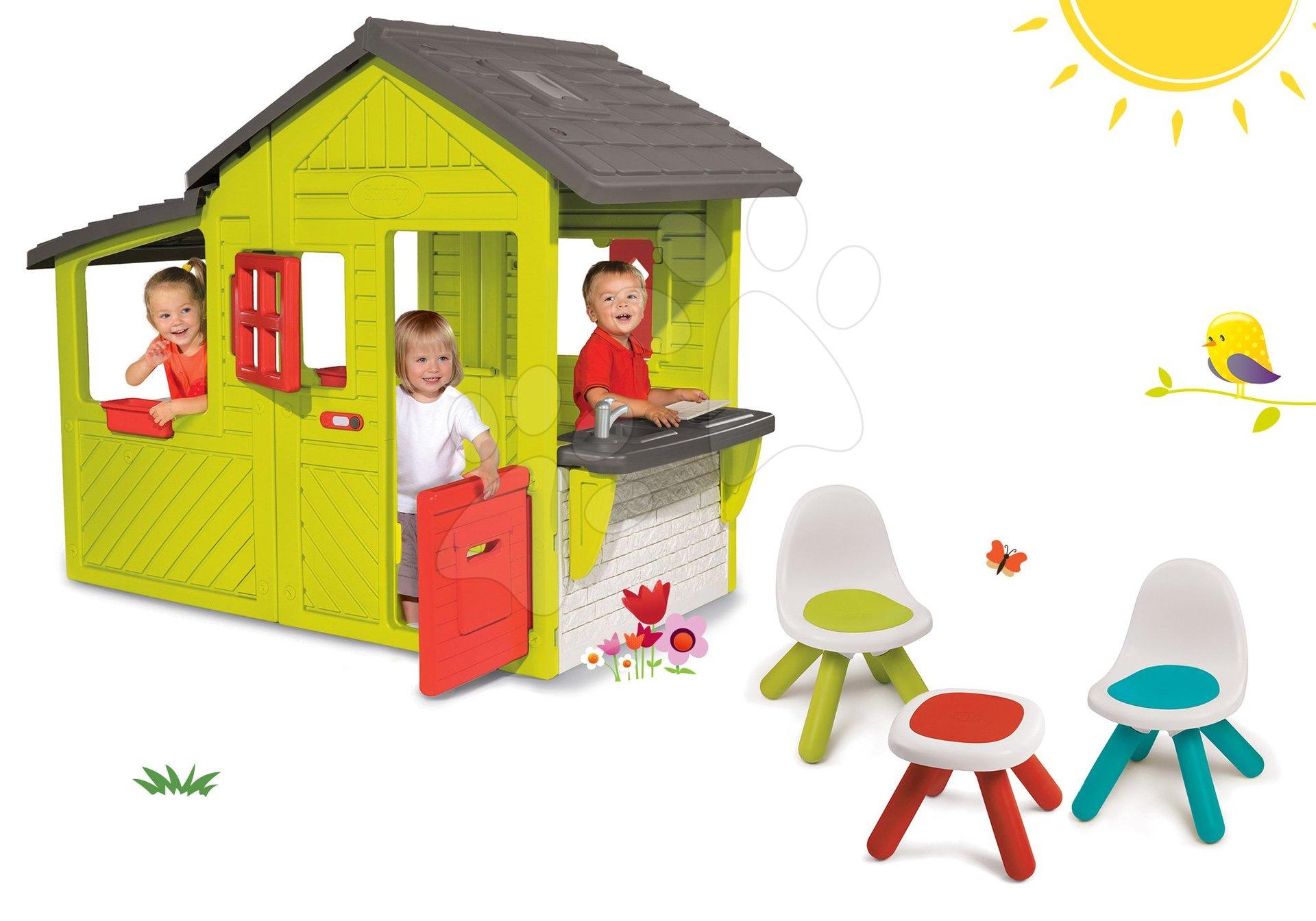 Smoby set domček Záhradník Neo Floralie s kuchynkou a 2 stoličky a stolček KidChair 310300-18