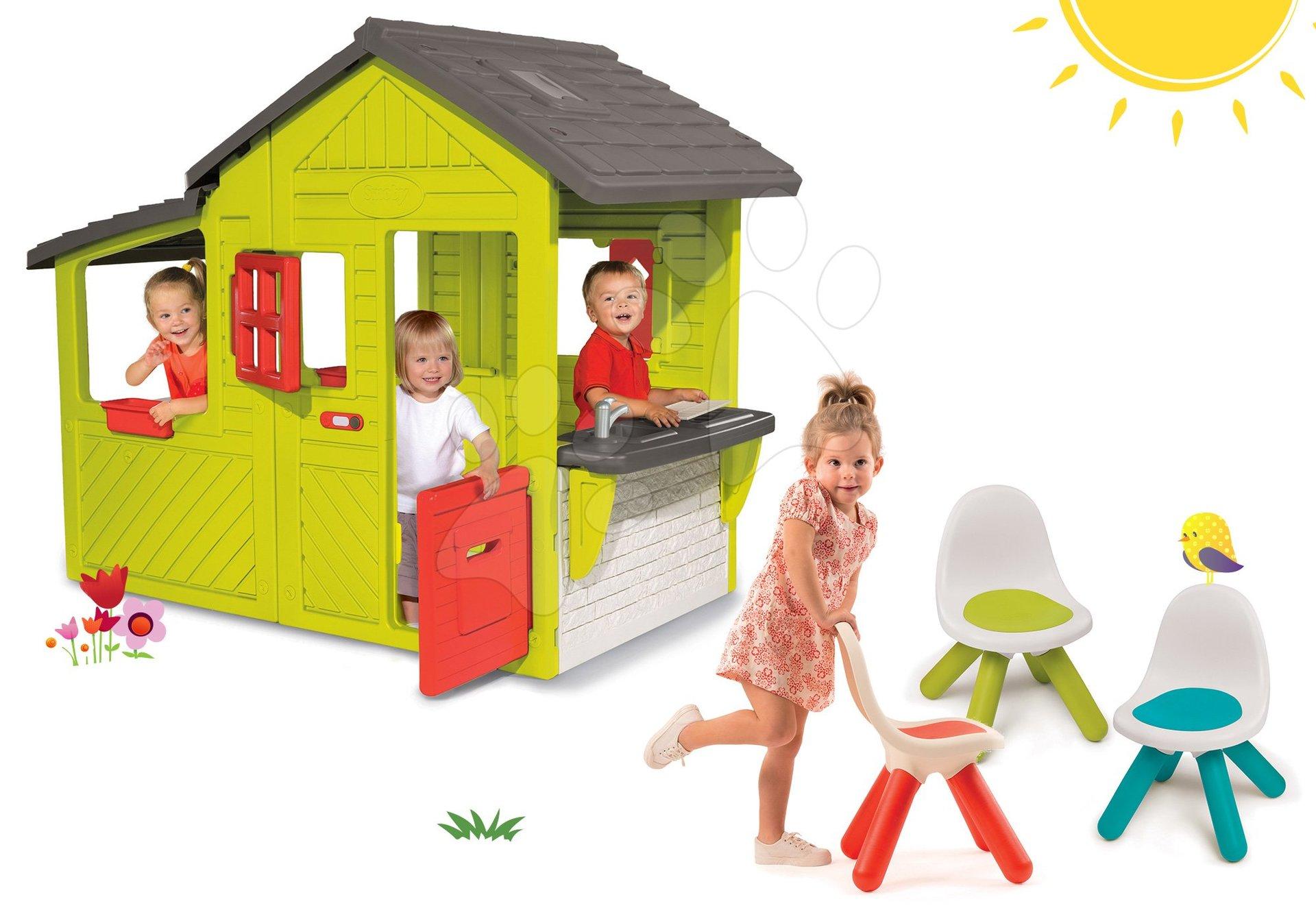 Smoby set domček Záhradník Neo Floralie s kuchynkou a 3 stoličky KidChair 310300-18B