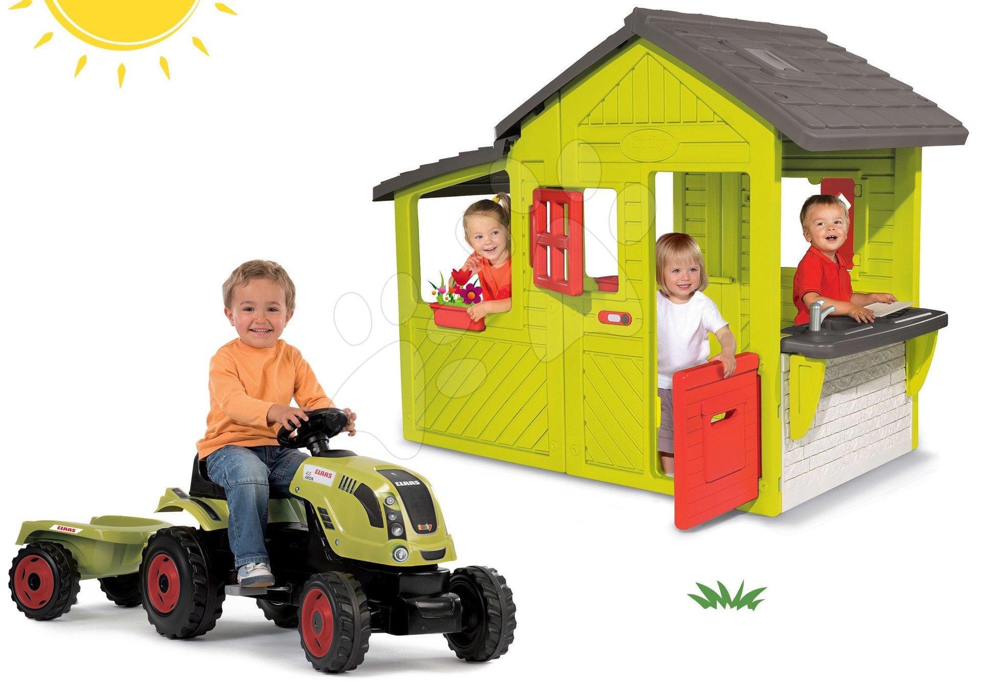 Smoby set domček Záhradník Neo Floralie s kuchynkou a červený traktor s prívesom 310300-21