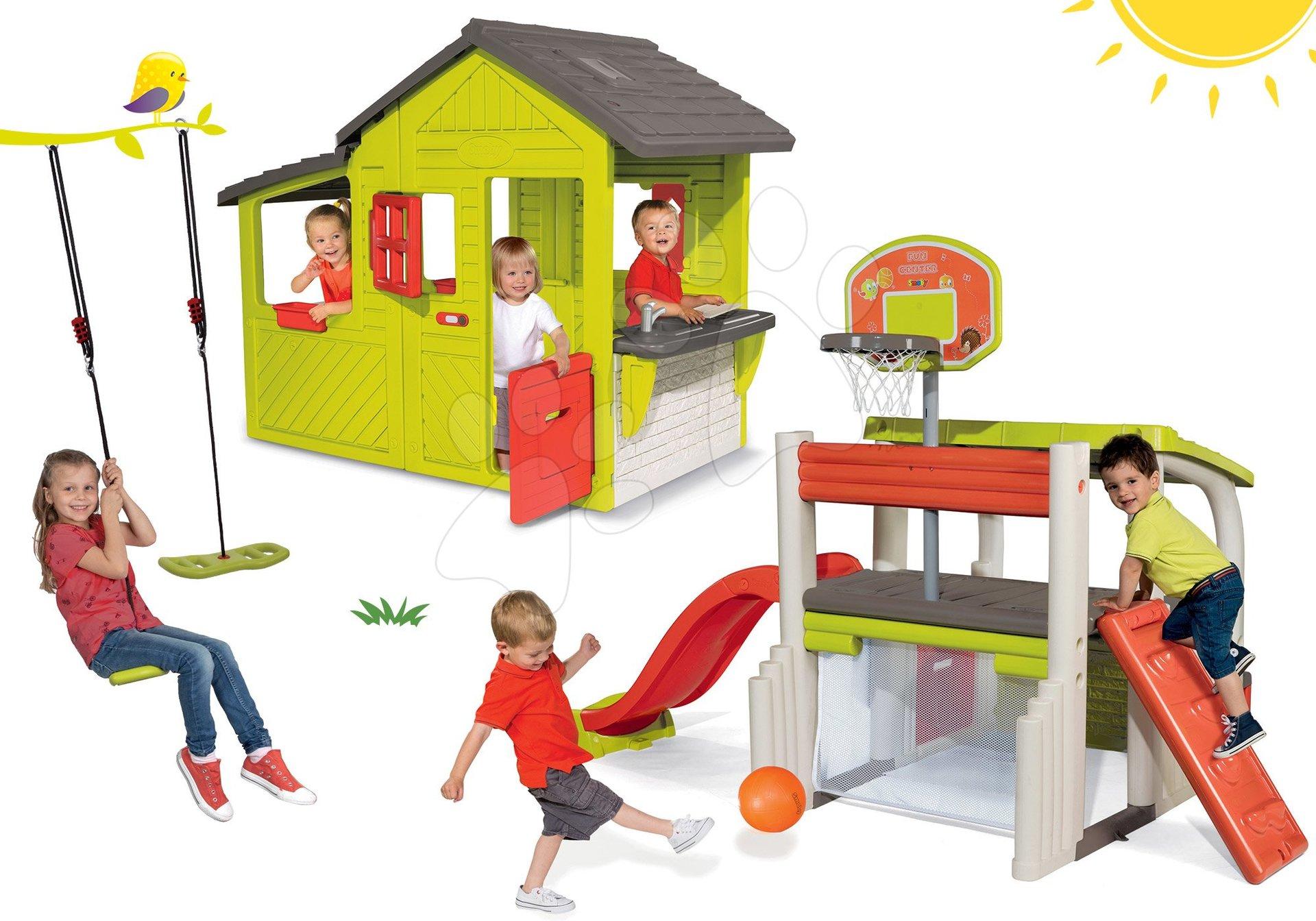 Set domček Záhradník Neo Floralie Smoby s kuchynkou a hracie centrum Multisport Fun Center so šmykľavkou a hojdačkou