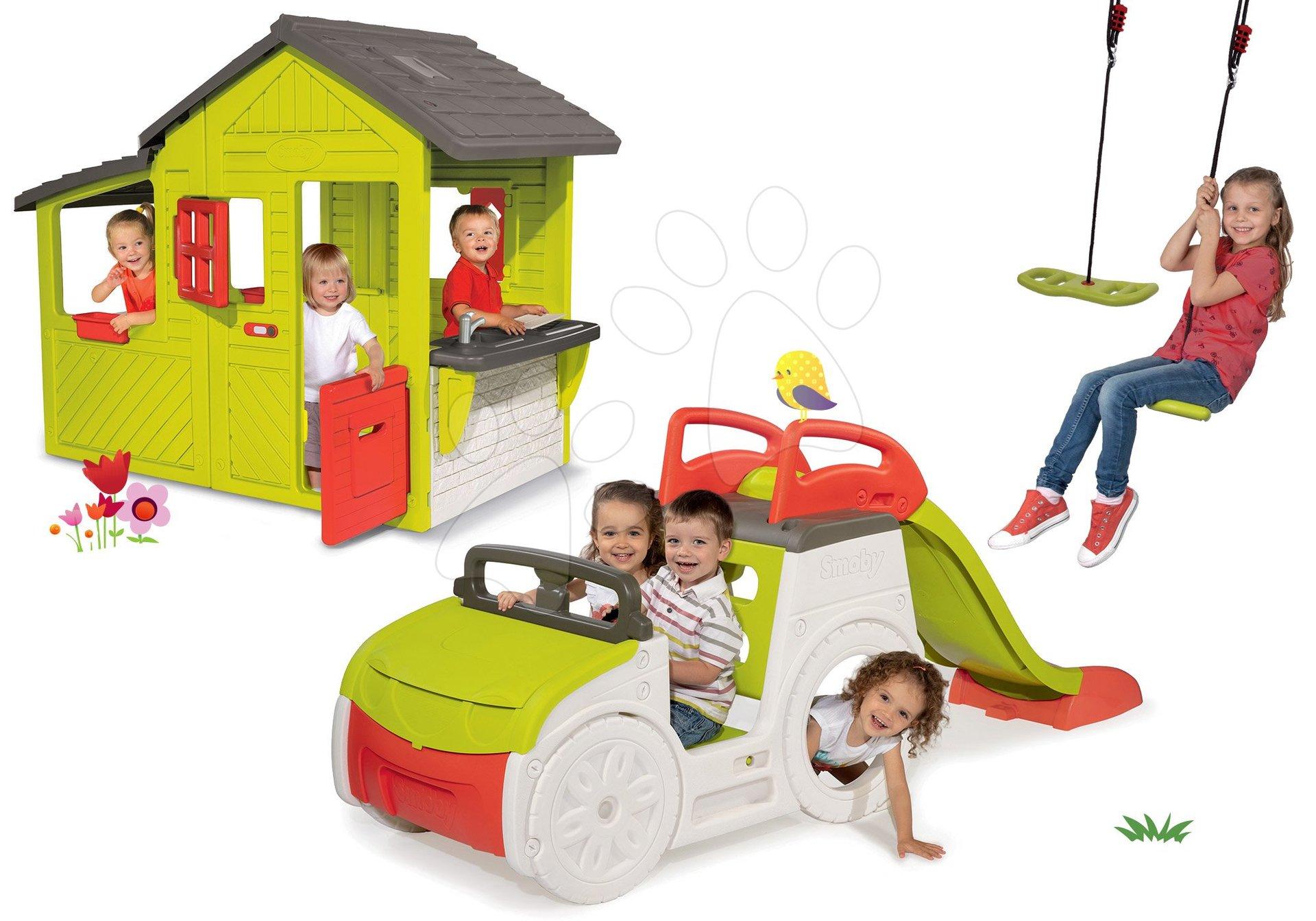 Set domček Záhradník Neo Floralie Smoby s kuchynkou a preliezačka auto Adventure Car s pieskoviskom, šmykľavkou a hojdačkou