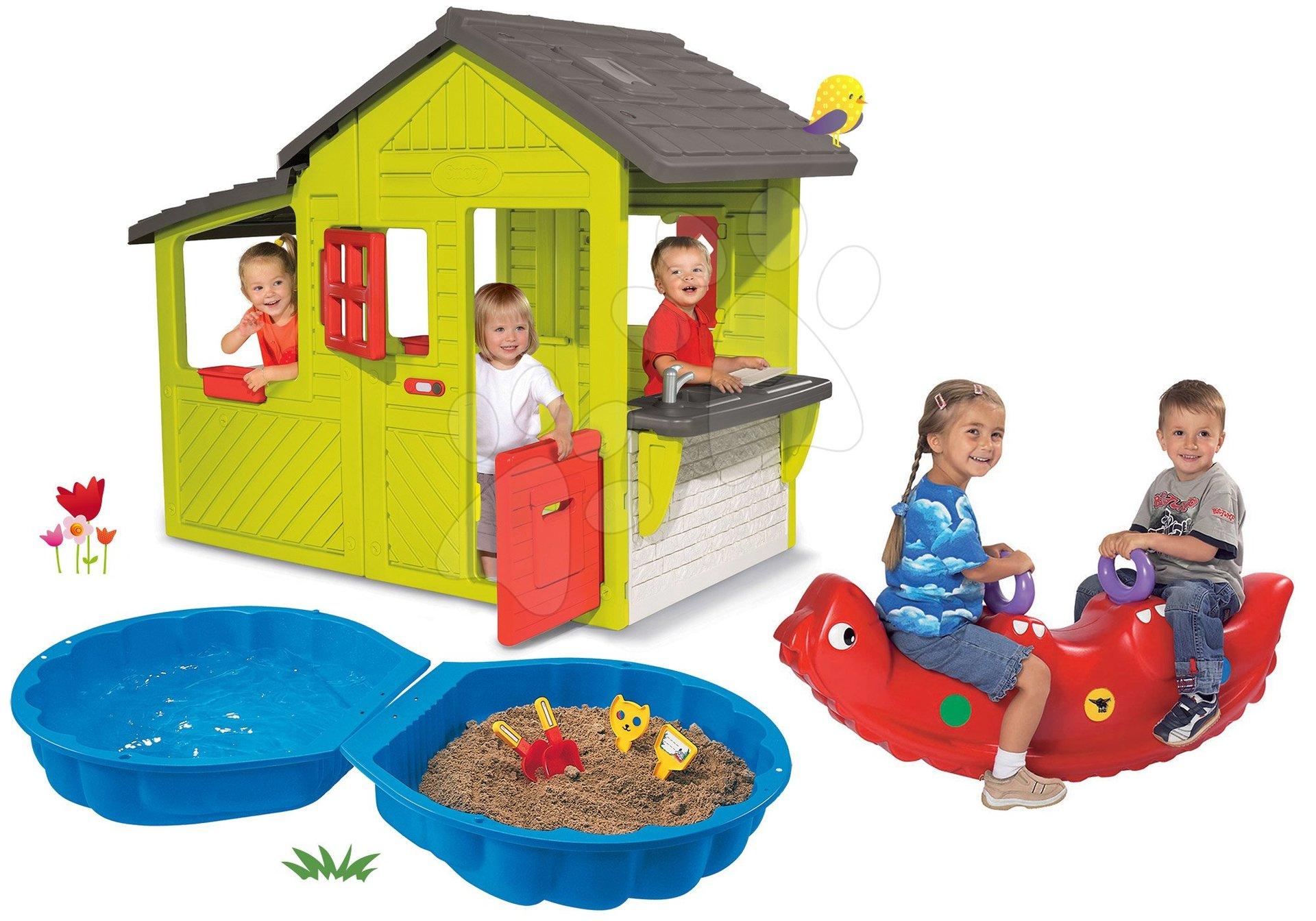 Smoby set domček Záhradník Neo Floralie s kuchynkou a pieskovisko Mušľa dvojdielne s hojdačkou 310300-33