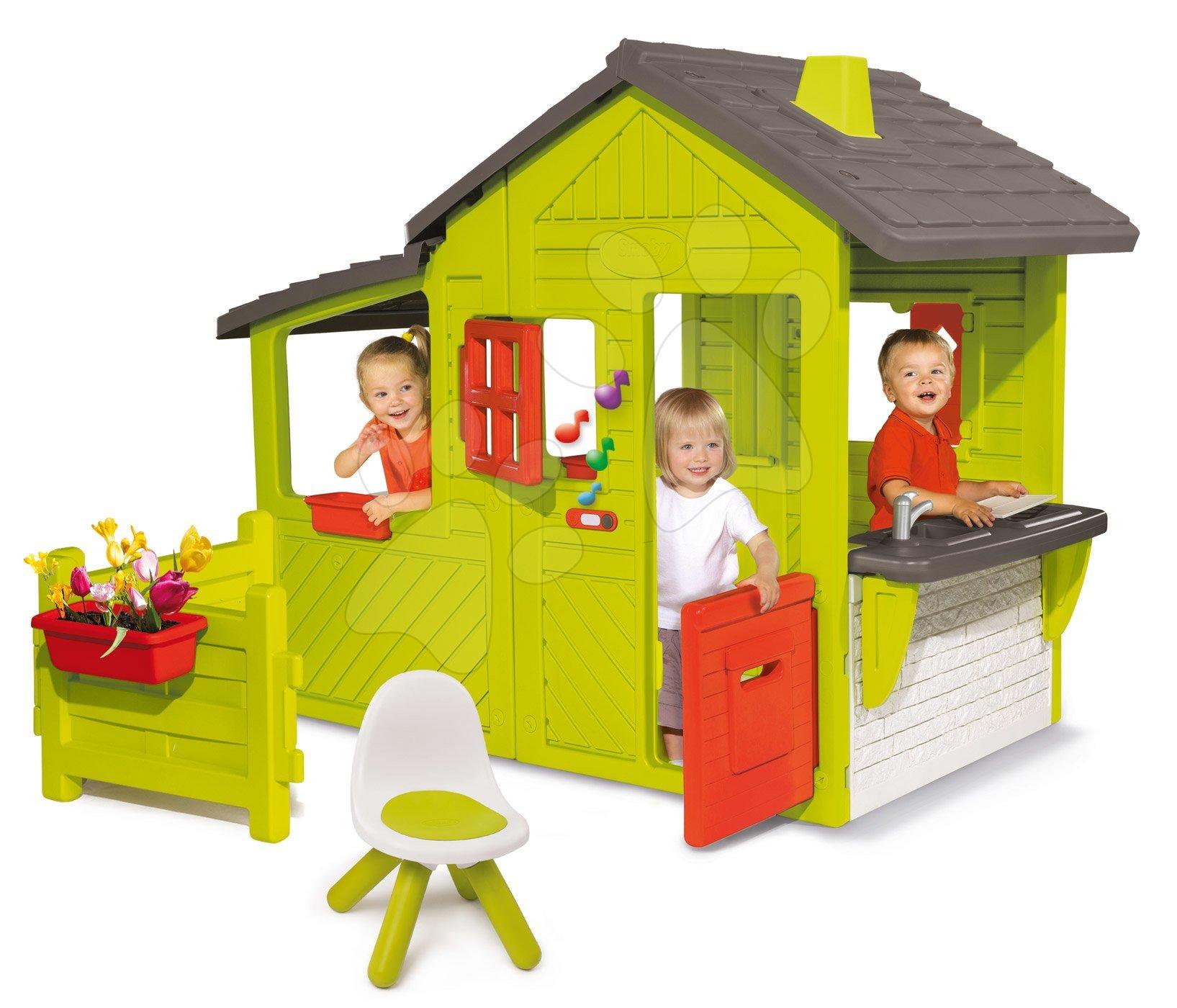 Domček Záhradník Neo Floralie Smoby so zvončekom komínom a záhradka so stoličkou