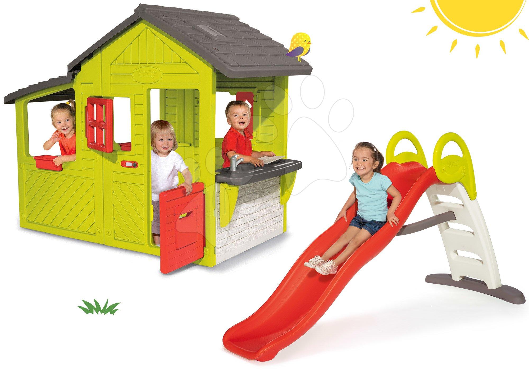 Smoby set domček Záhradník Neo Floralie s kuchynkou a šmykľavka Funny Toboggan 310300-8