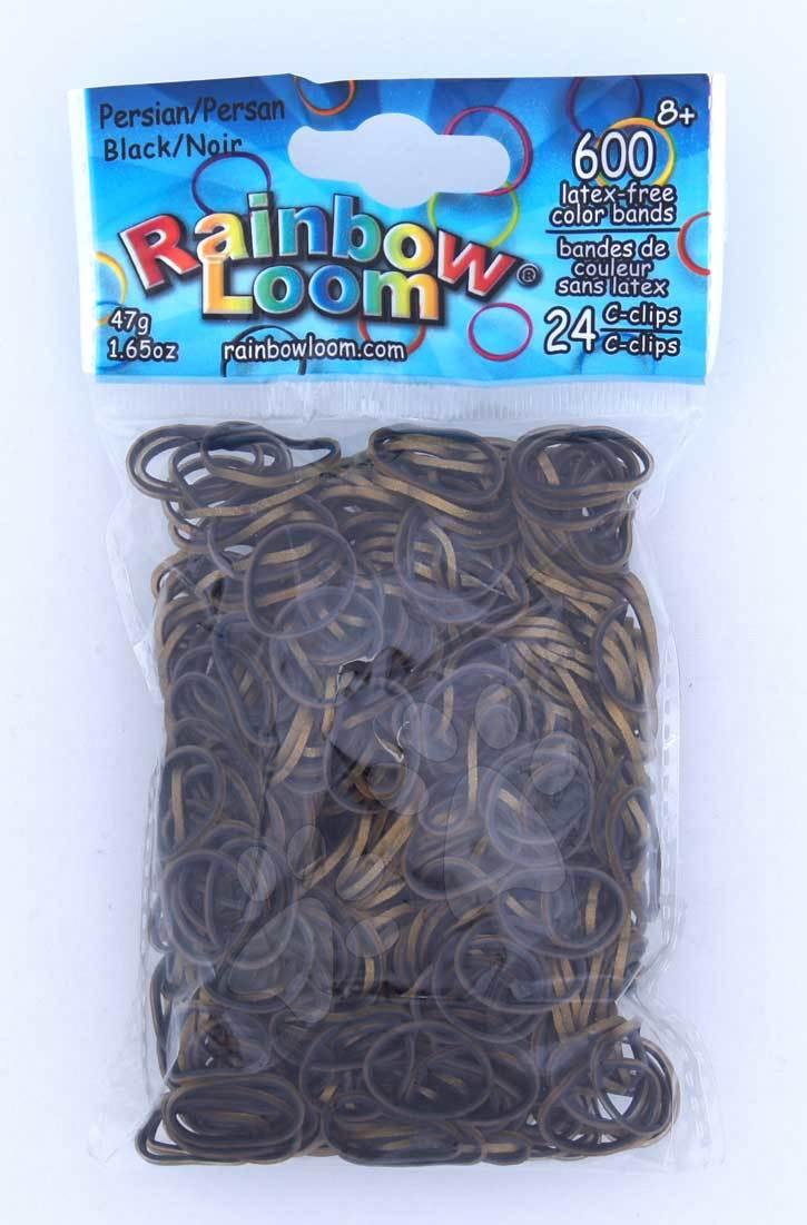 Rainbow Loom eredeti szövőgumik perzsai 600 darab fekete/arany 6 évtől
