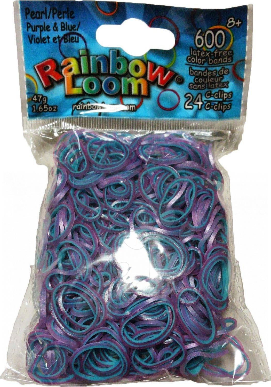 Rainbow Loom gumičky dvojfarebné - Rainbow Loom originálne perleťové gumičky 600 kusov fialovo-modré od 6 rokov