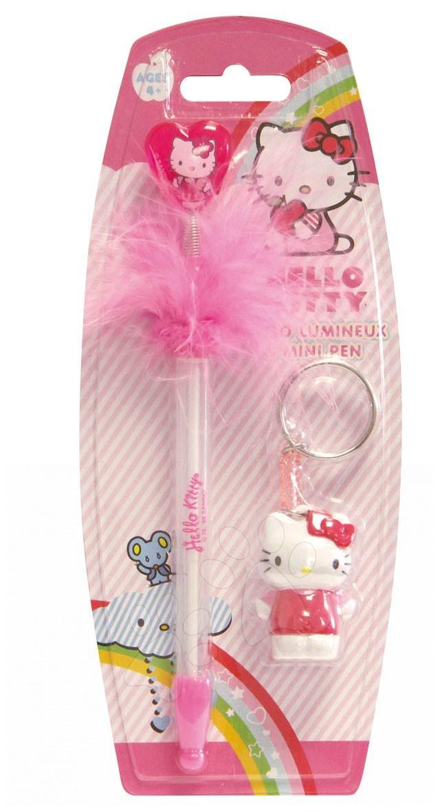 Sada pero a klíčenka Hello Kitty Stylo Lumineux Coeur CTC Paris mini růžové