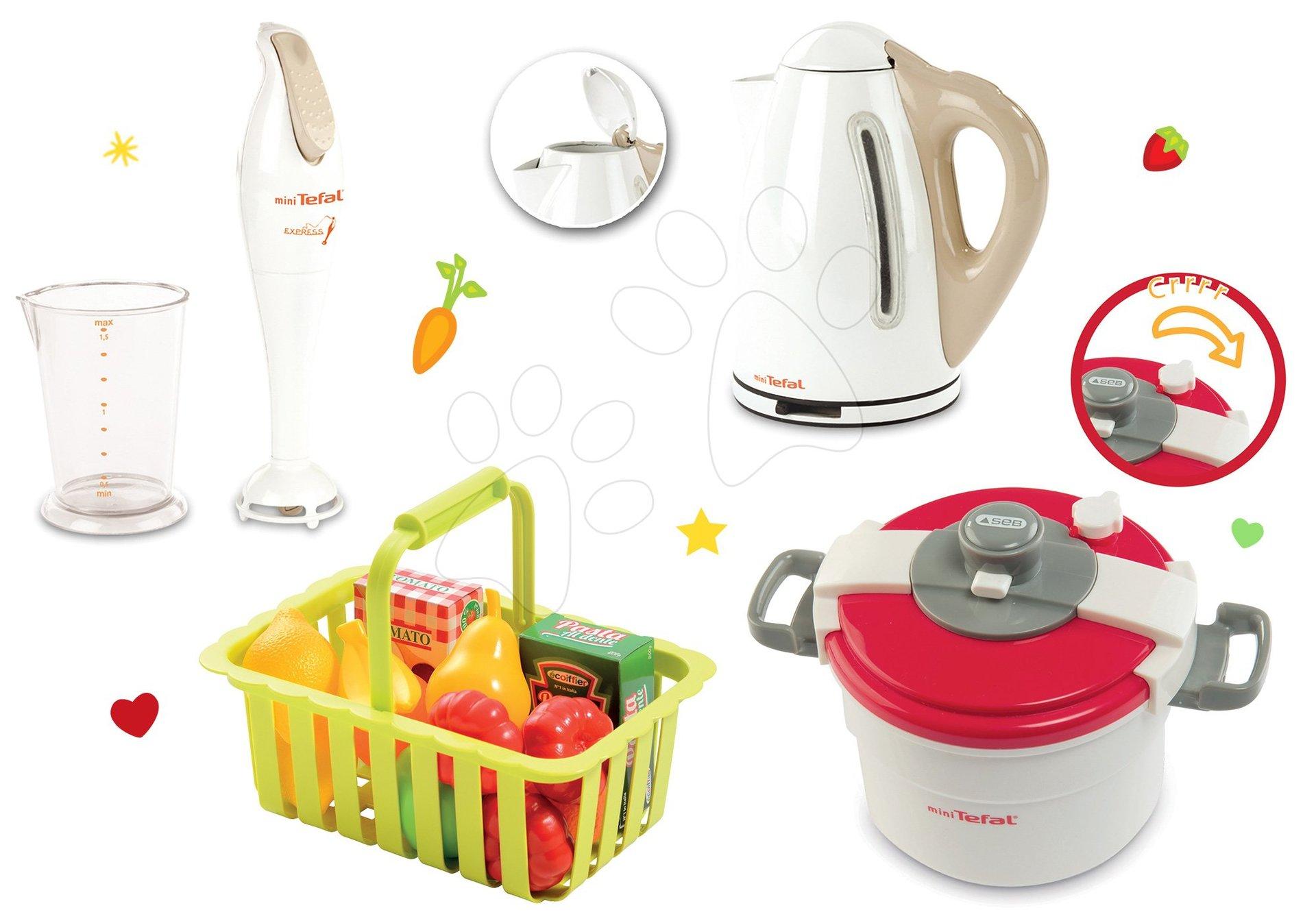 Smoby set spotrebičov tlakový hrniec, ponorný mixér a kanvica tefal a Écoiffier košík s ovocím 310501-1