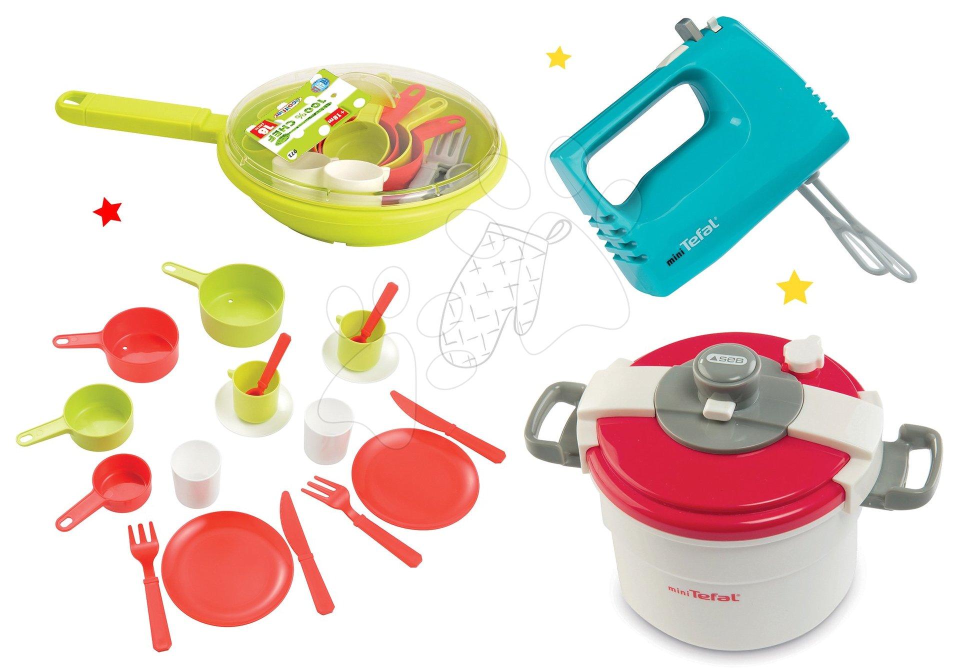 Set tlakový hrnec Mini Tefal Smoby ruční mixér Tefal s metličkami a pánev s nádobím
