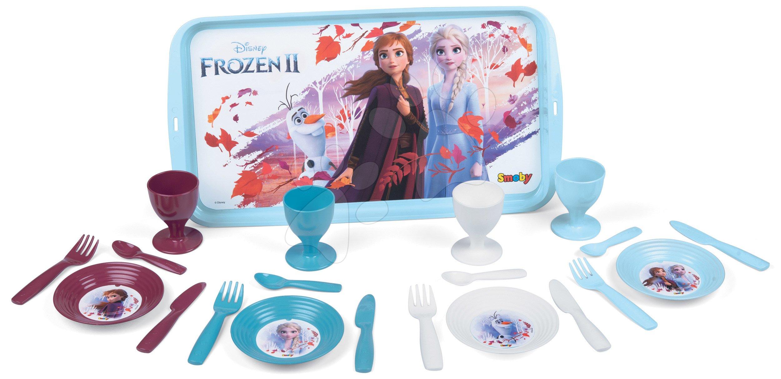 Nádobí a doplňky do kuchyňky - Jídelní tác s jídelní soupravou Frozen 2 Disney Smoby a 21 doplňků