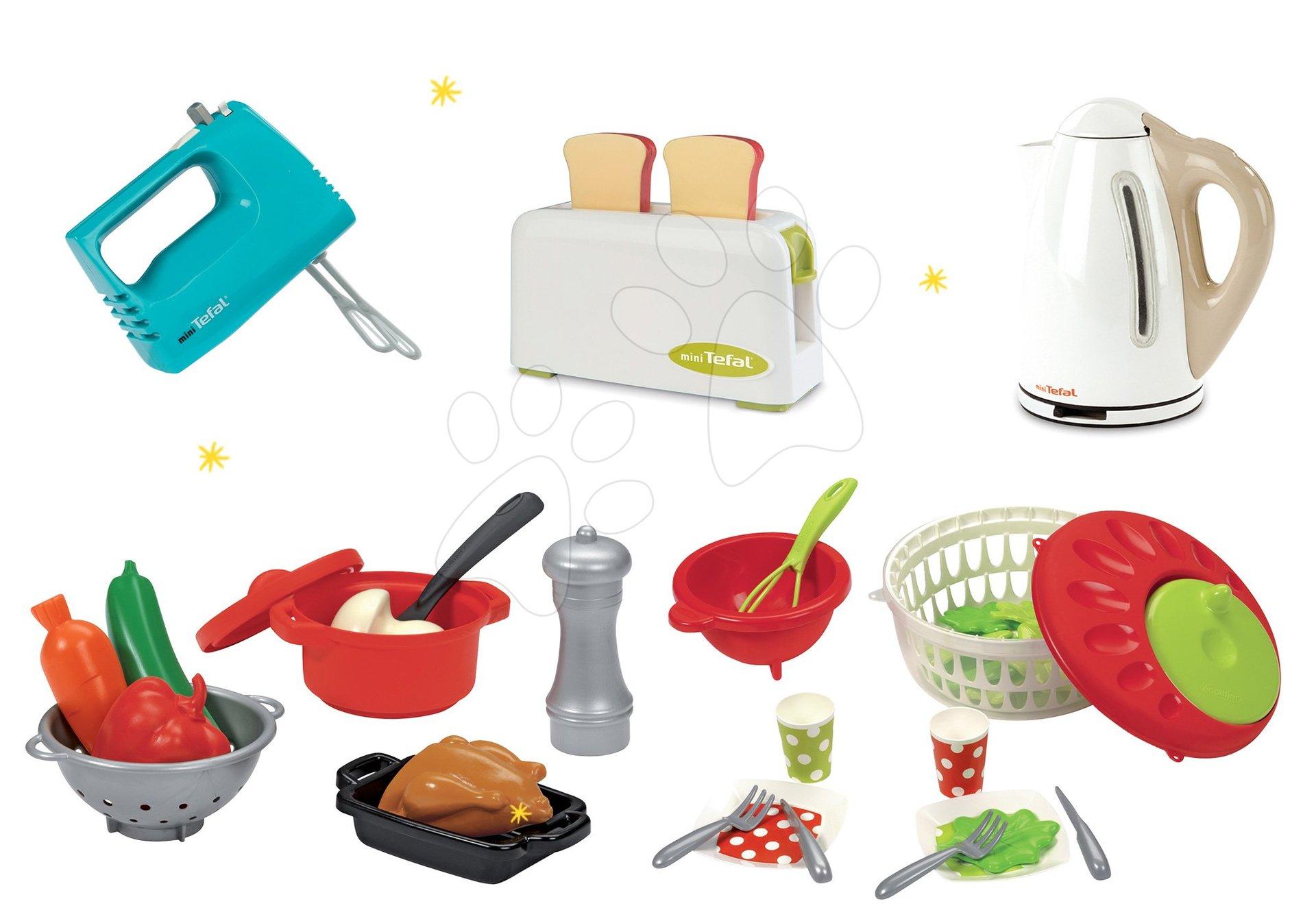 Smoby set spotrebičov: toaster, ručný mixér, kanvica Tefal a Écoiffier misa so šalátom 310504-1