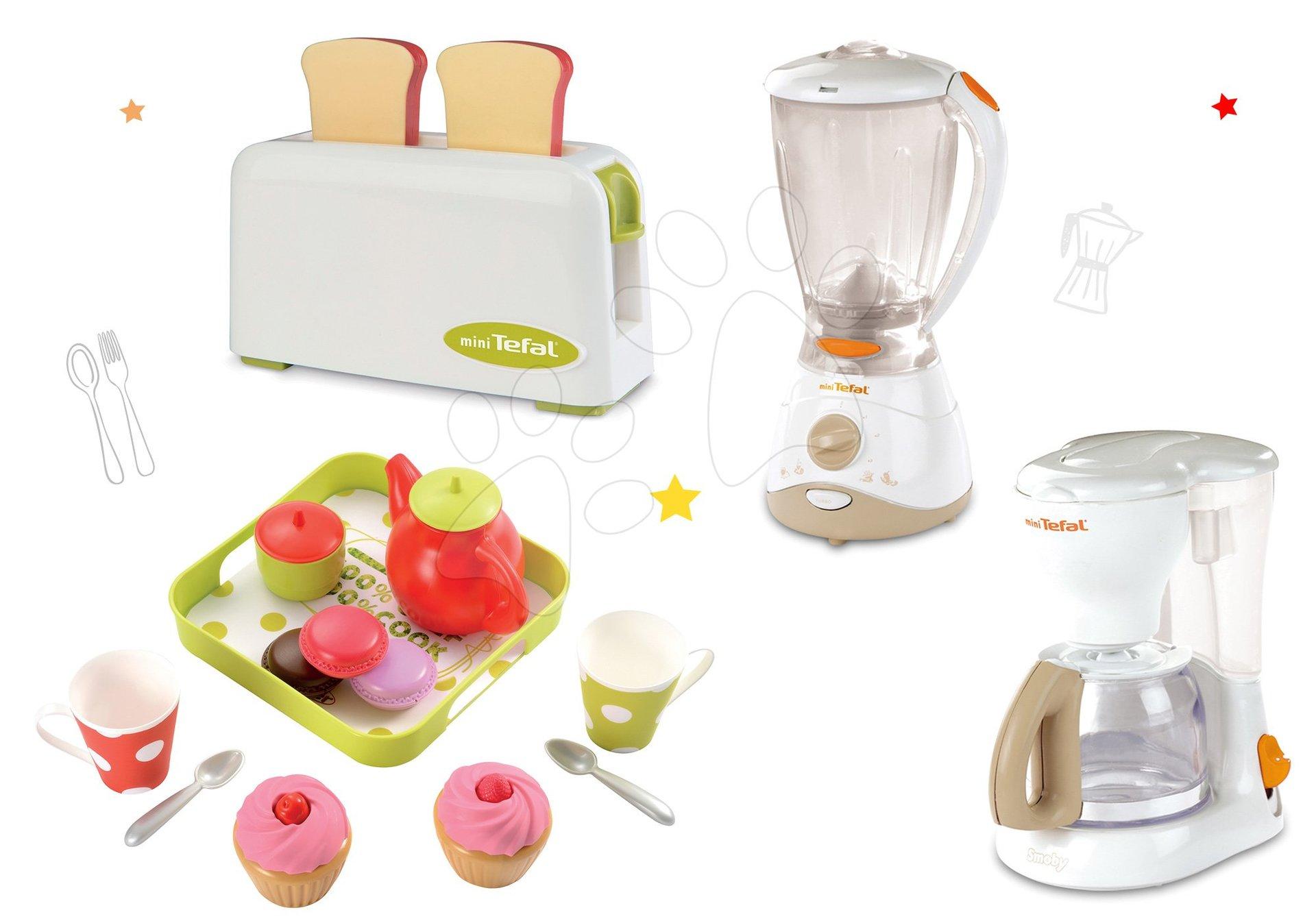 Spotrebiče do kuchynky - Set toaster Mini Tefal Smoby kávovar Tefal, mixér Tefal a čajový set Cheef Cook