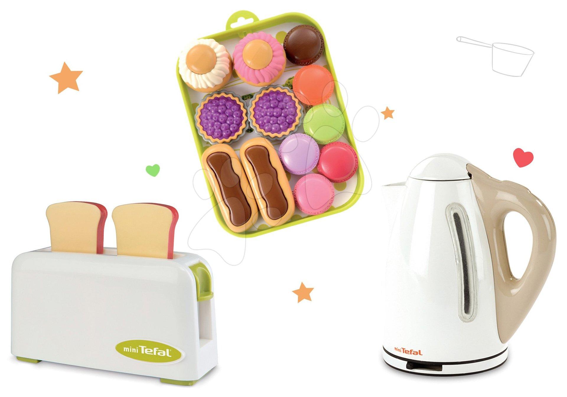 Set toaster Mini Tefal Smoby rychlovarná konvice Tefal a koláčky na podnose