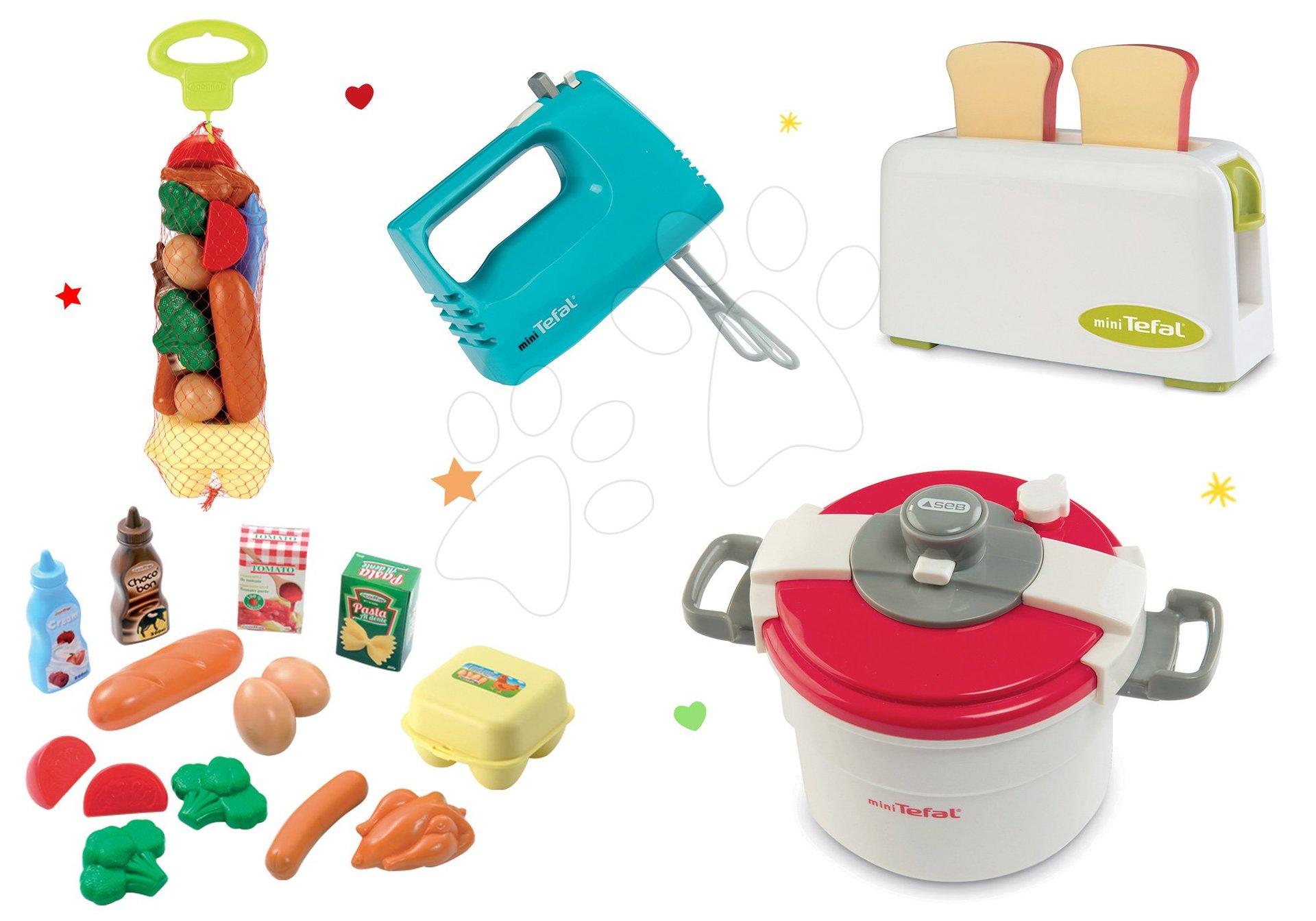 Smoby set spotrebičov: toaster, mixér, tlakový hrniec Tefal a Écoiffier potraviny 310504-6