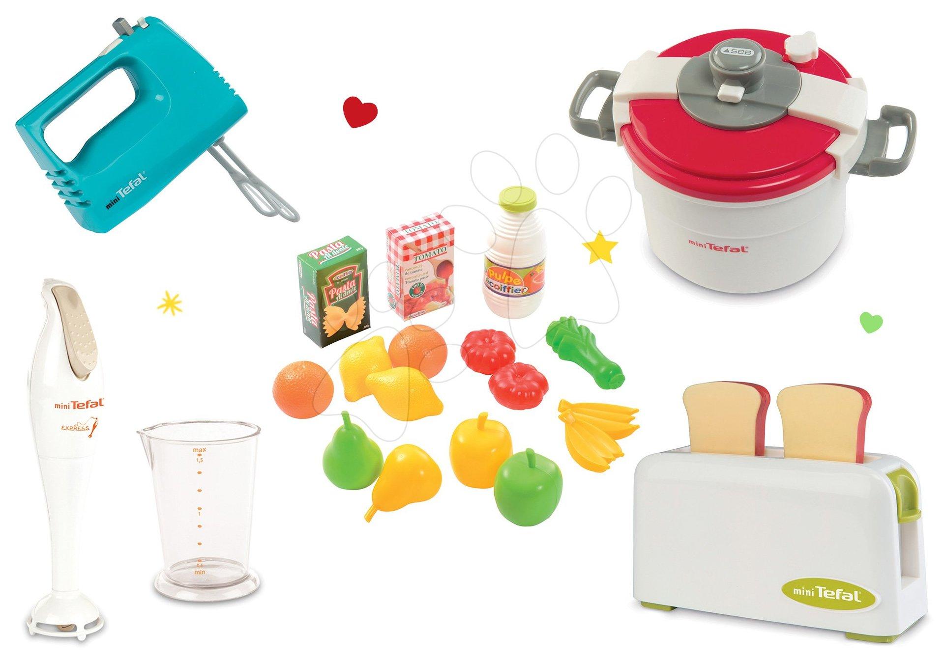 Set toaster Mini Tefal Smoby a ruční mixér, tlakový hrnec, ponorný mixér a potraviny