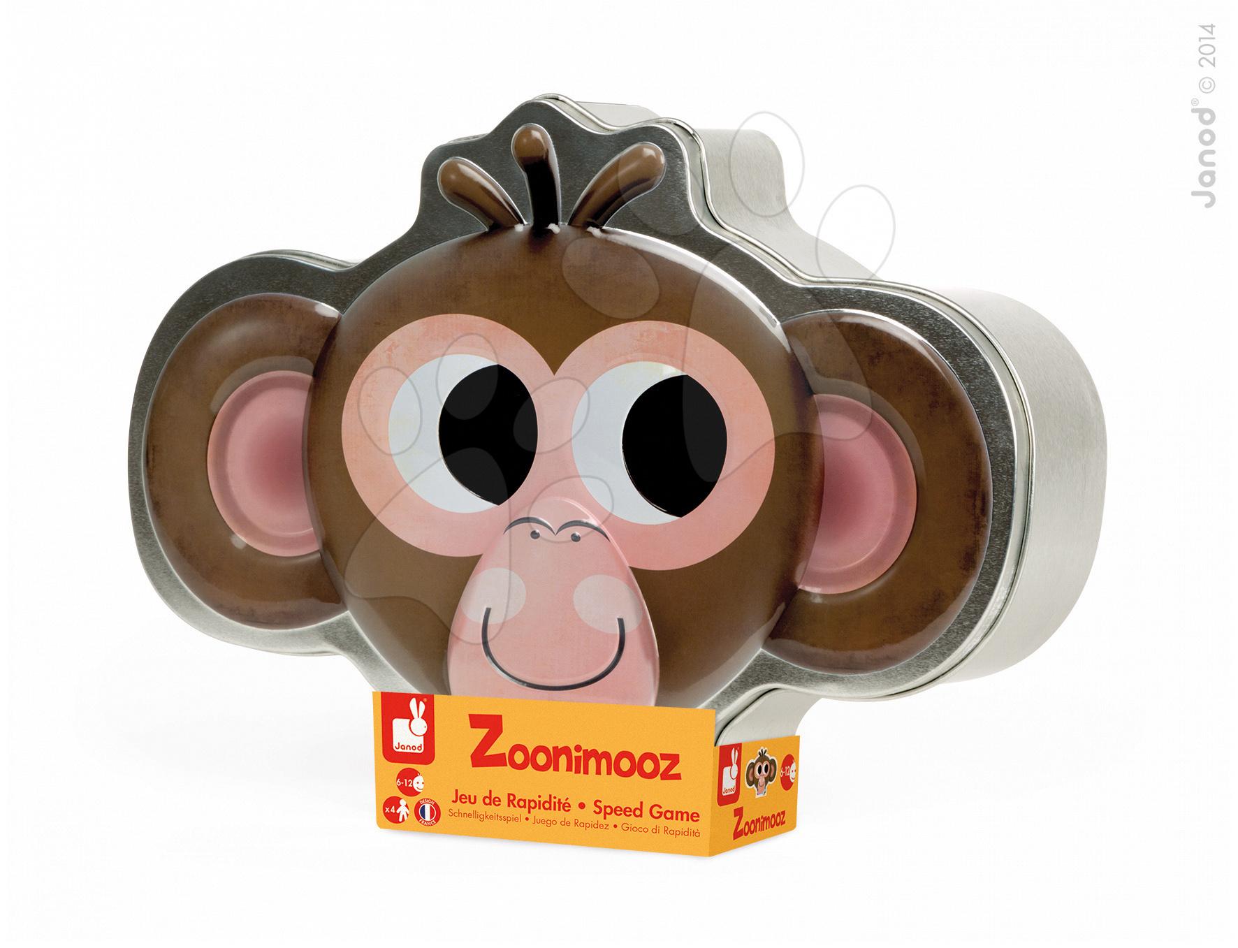 Cudzojazyčné spoločenské hry - Spoločenská hra Zoonimooz Monkey Speed Game Janod v angličtine od 6 rokov