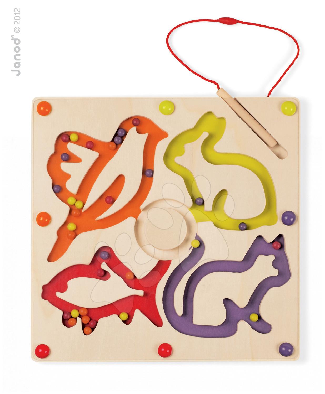 Magnetky pre deti - Drevená magnetická tabuľa Billonimo Janod so zvieratkami od 18 mes