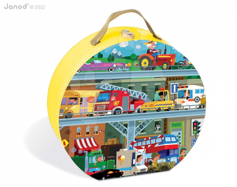Dětské puzzle Vozidla Janod v kulatém kufříku 100 dílů od 5 - 8 let