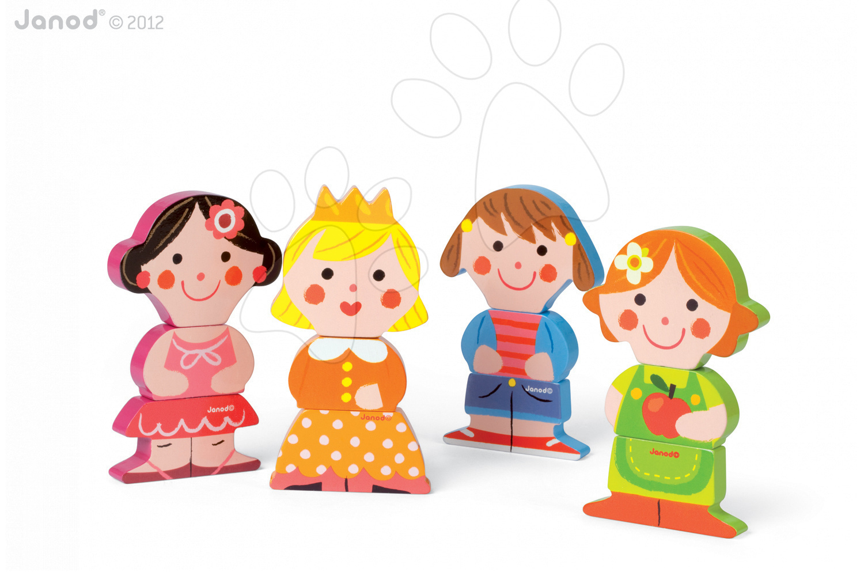 Puzzle pre najmenších - Drevené magnetické figúrky Dolls Funny Magnet Janod 4 ks od 18 mes