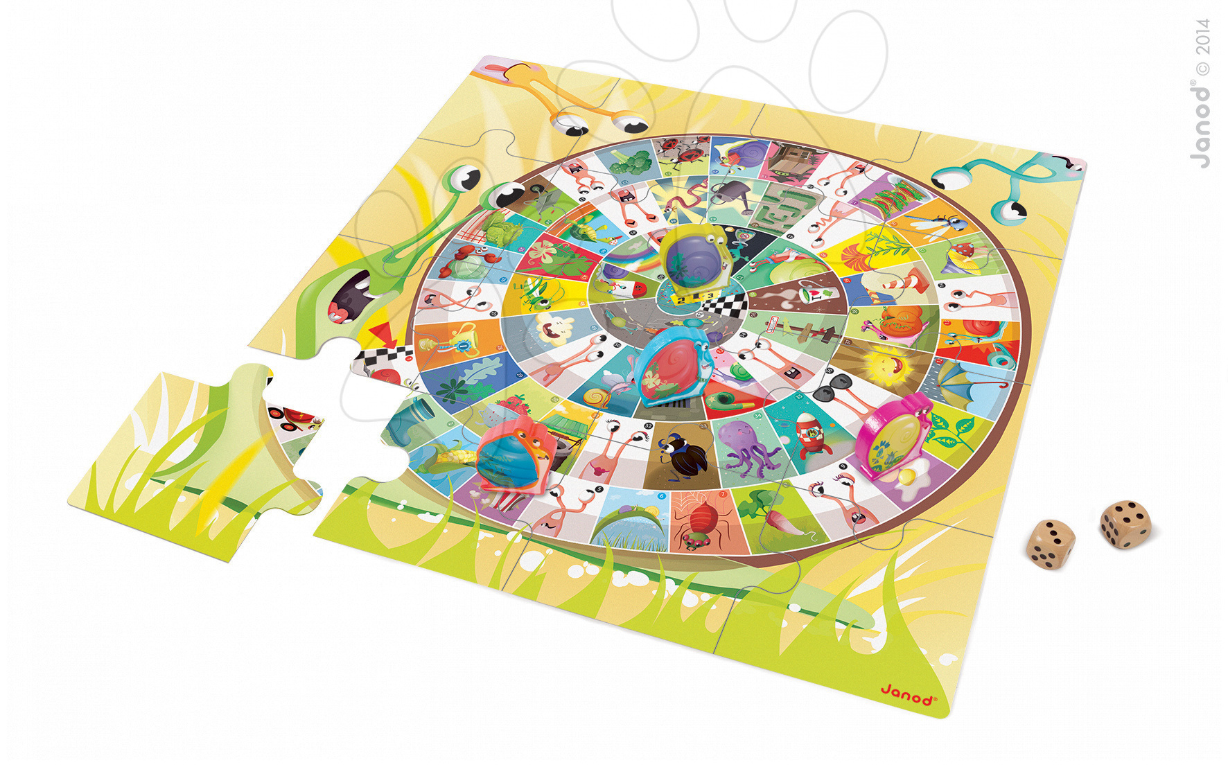 Společenská hra Snails Race Giant Game & Puzzle Janod v angličtině od 3 let