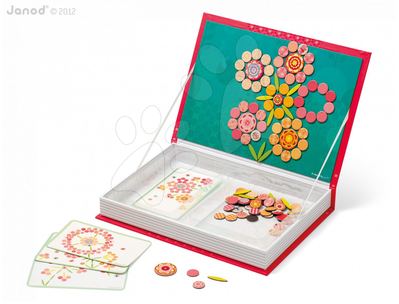 Magnetky pre deti - Magnetická kniha Mosaic Flowers Magneti'Book Janod 5 kariet od 6 rokov