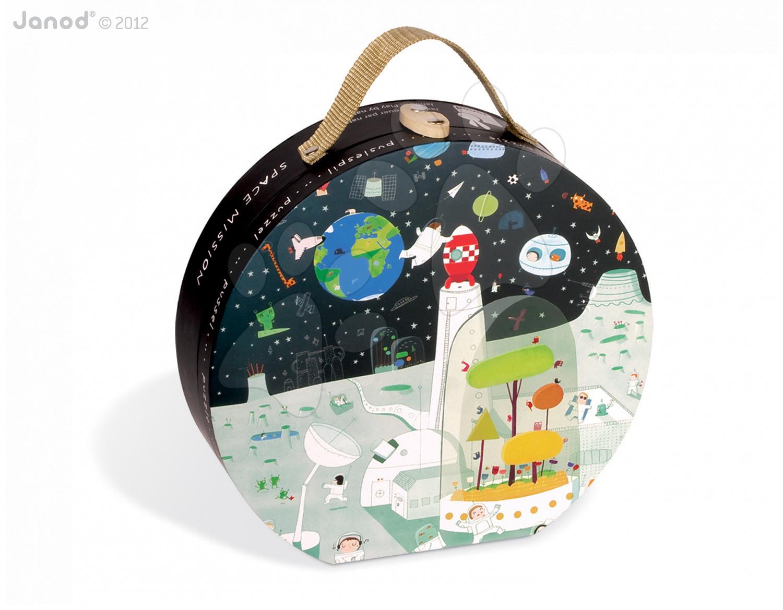 Dětské puzzle Space Mission Janod v kulatém kufříku 100 dílů od 5 - 8 let