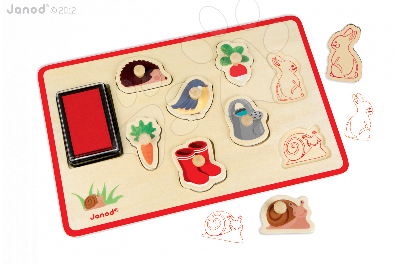 Dřevěná razítka Garden Stamps Janod 8 kusů