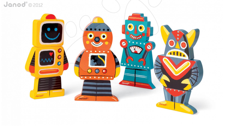 Dřevěné magnetické figurky Robots Funny Magnet Janod 4 ks od 18 měsíců