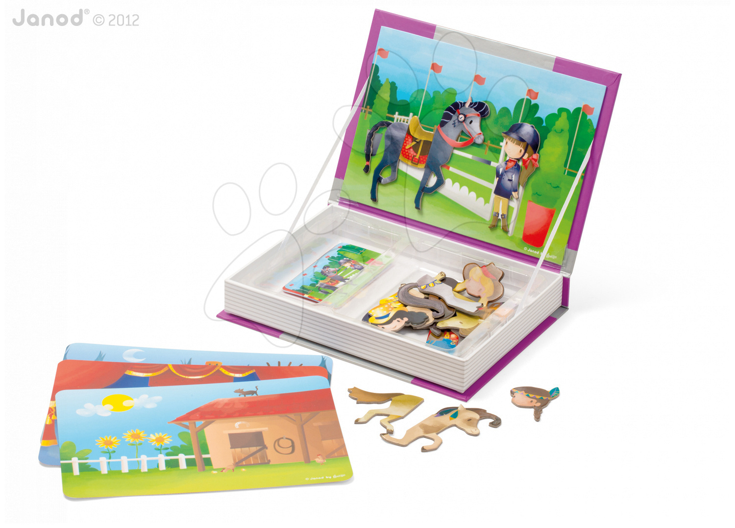 Magnetky pre deti - Magnetická kniha Horses and Riders Magneti'Book Janod 4 karty