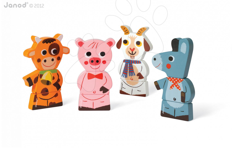 Dřevěné magnetické figurky Farm Funny Magnet Janod 4 ks od 18 měsíců