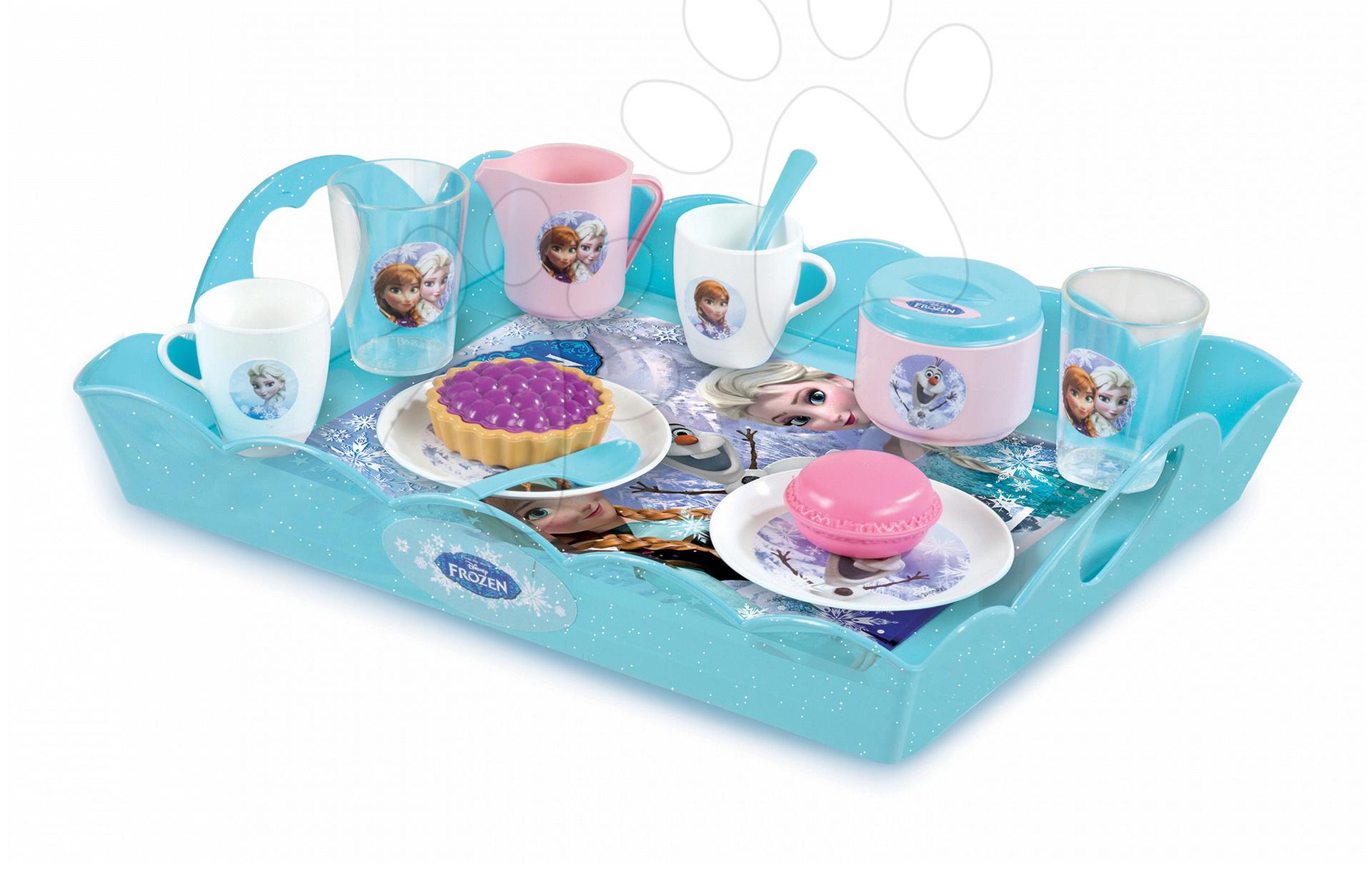 Čajová souprava Frozen Smoby na podnose s koláčky a 18 doplňky