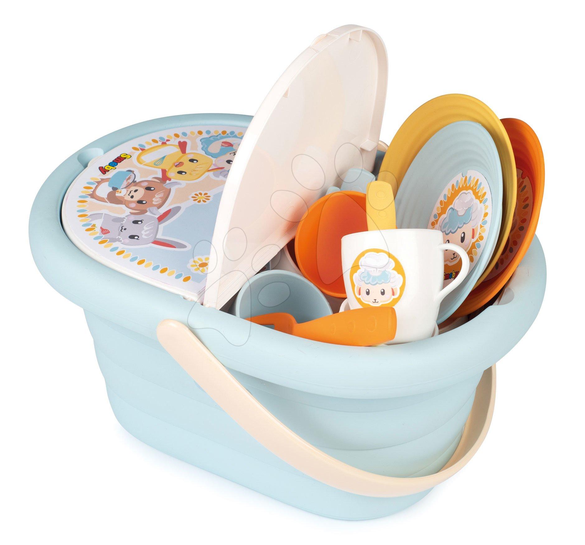 Piknikový košík Ptitoo Smoby s tanierikmi a šálkami od 18 mes