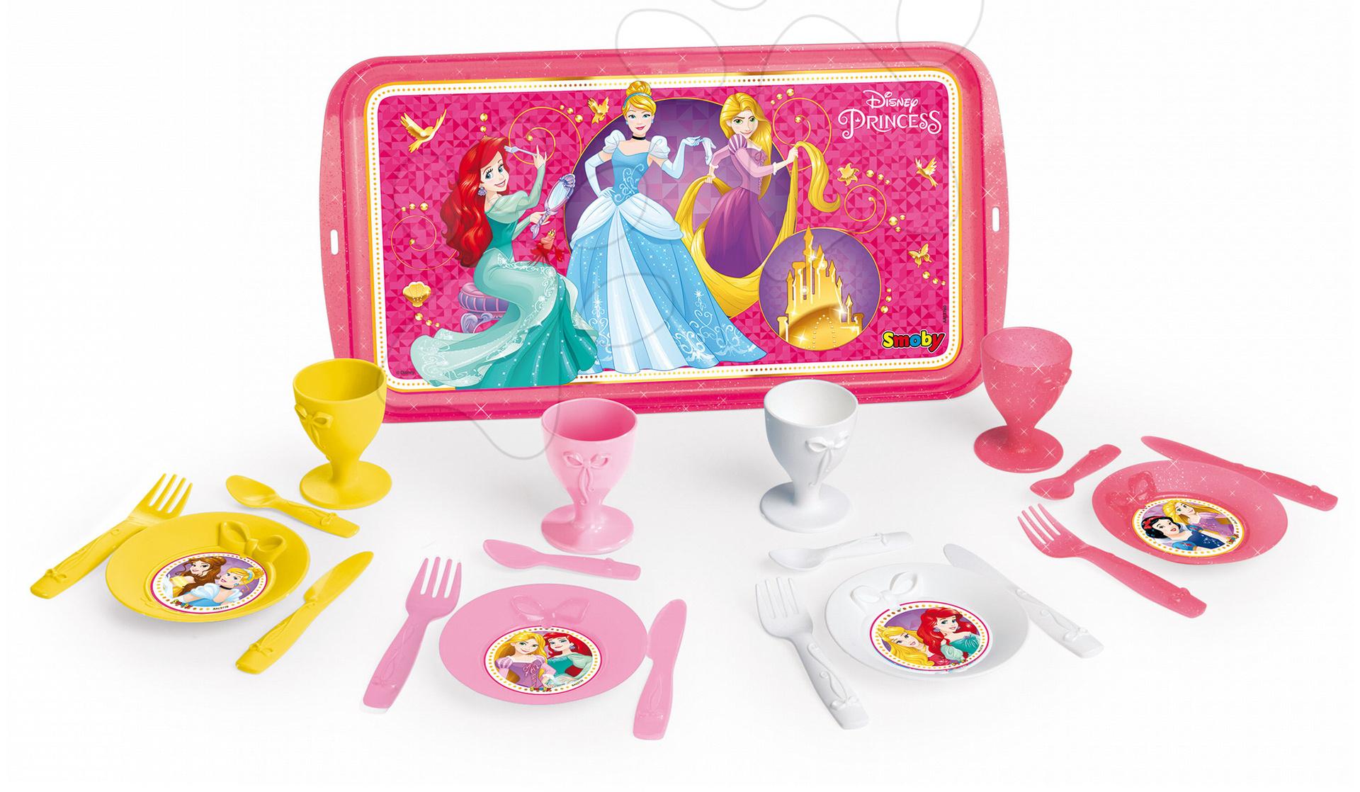 Servírovací tác Disney Princezny Smoby s čajovou soupravou a koláčky 16 kusů