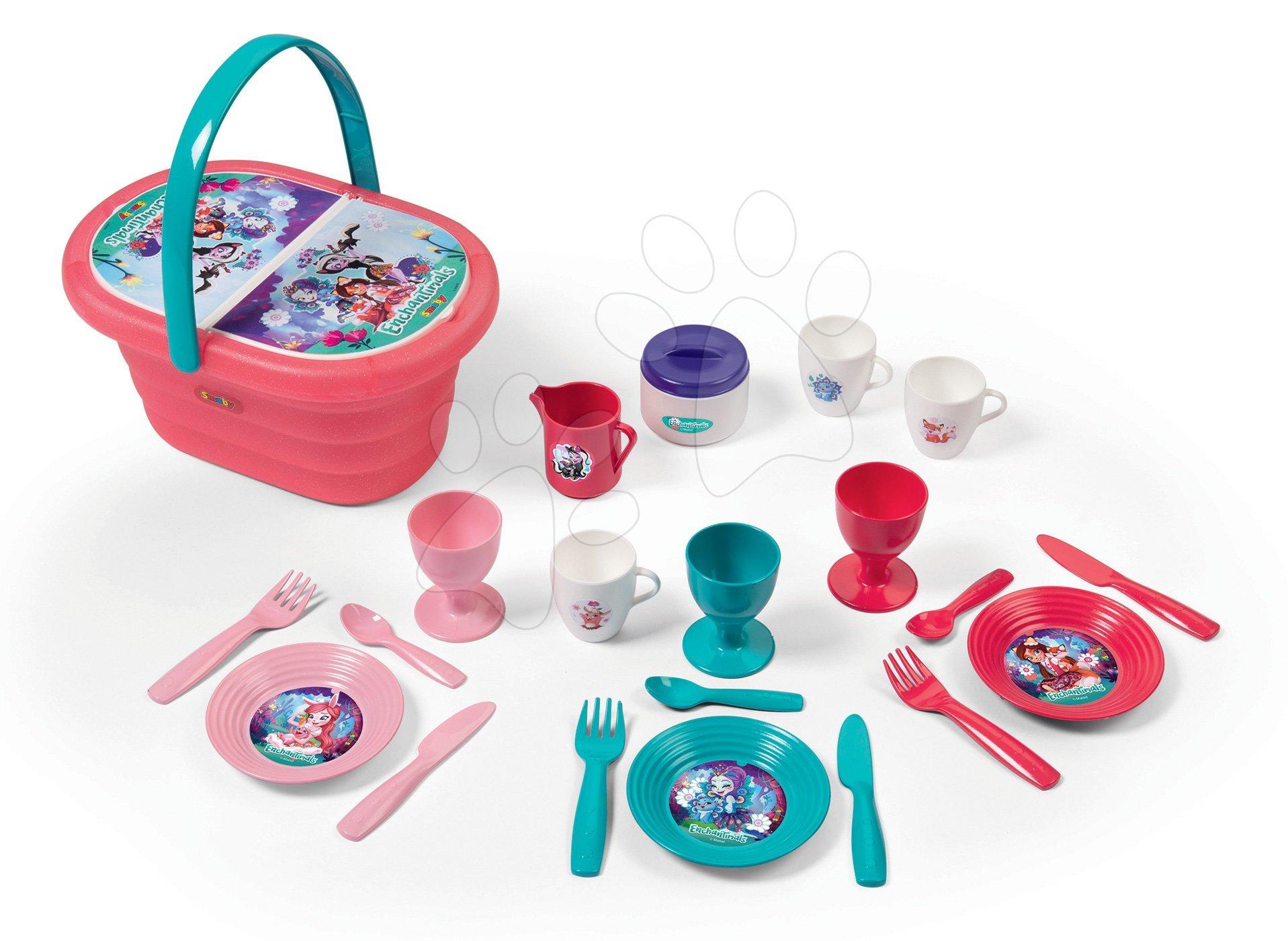Nádobí a doplňky do kuchyňky - Košík s jídelní soupravou a pohárky Enchantimals Picnic Basket Smoby s 21 doplňky