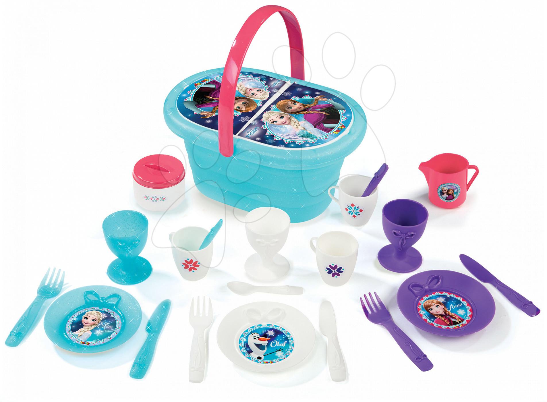 Piknikový košík s jídelní soupravou Frozen Smoby třpytivý s 24 doplňky